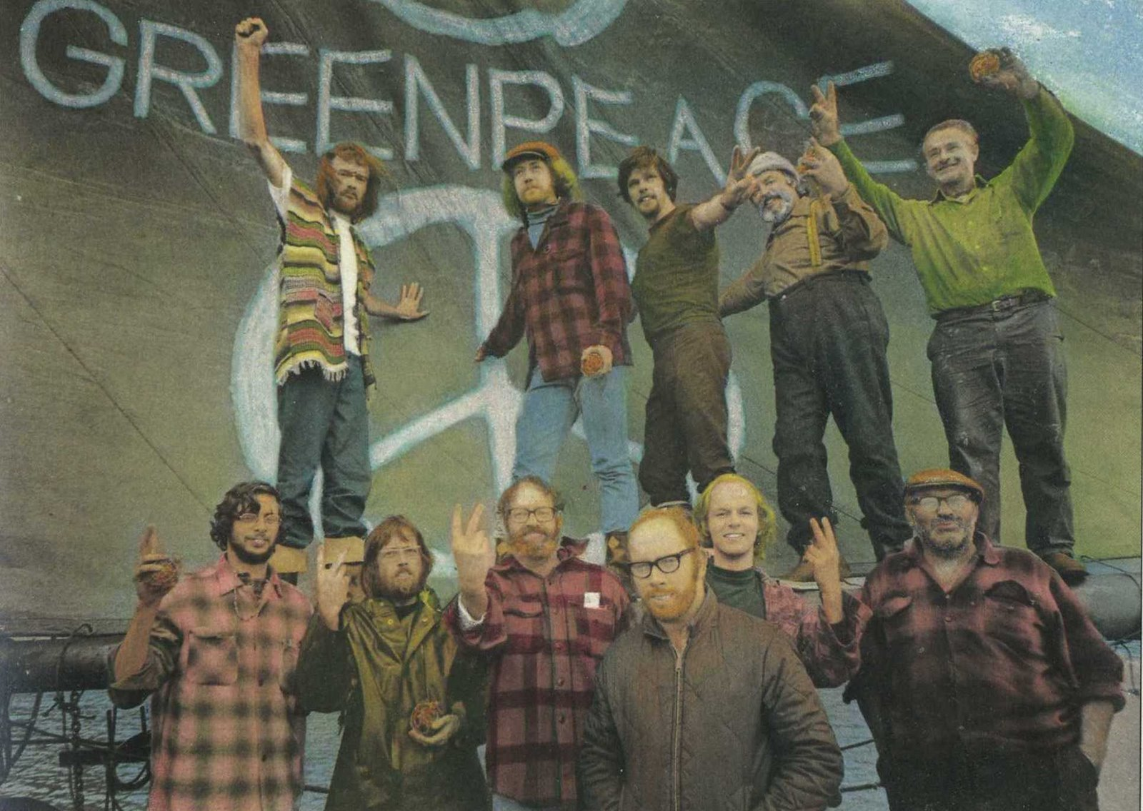 The crew of the original Greenpeace mission to Amchitka. The two guy on the lower right with his hands in his pockets is Captain Cormack.
