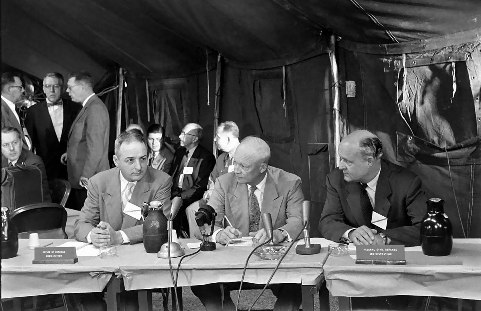 The emergency meeting during Operation Alert. Eisenhower was evacuated by helicopter from Washington D.C.