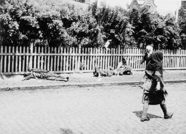 Ukrainians having dropped dead on the sidewalk from starvation during the Holodomor - the famine/genocide.