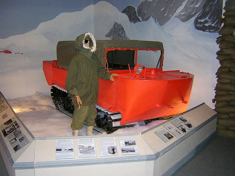 """This is an unmodified M29 Weasel painted in """"International Orange"""" and displayed at the U.S. Army Transportation Museum."""