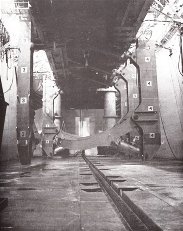 """Inside the """"Moon Pool"""" of the Glomar Explorer, which was the bay that would accept the raised submarine. Note the giant claws that broke."""