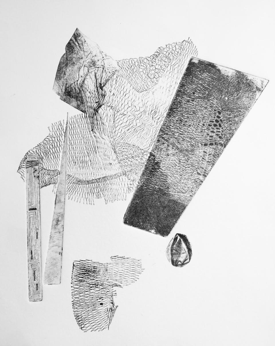 Untitled, Intaglio, 11 in x 13 in  I included nets, fabrics,rubbers and picked up unwanted spare plate in various forms to construct an image that is neither restricted to nor within the square shape of the intaglio plate.