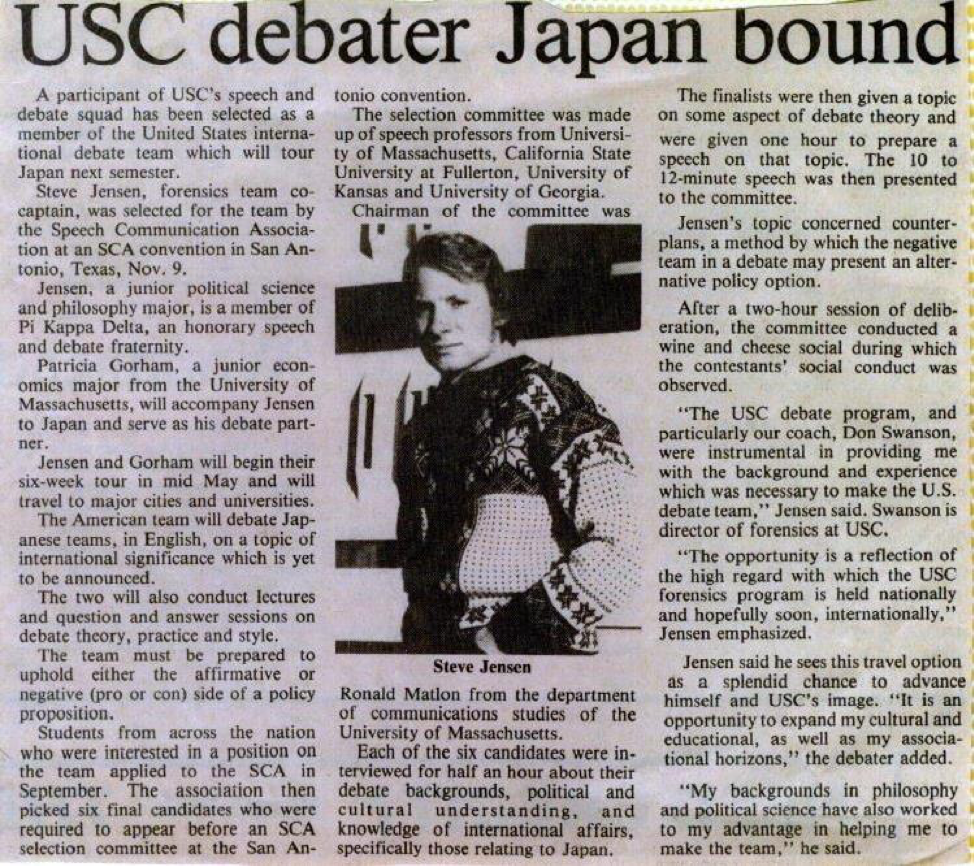 A newspaper article highlighting Steve's selection for the US Debate Team