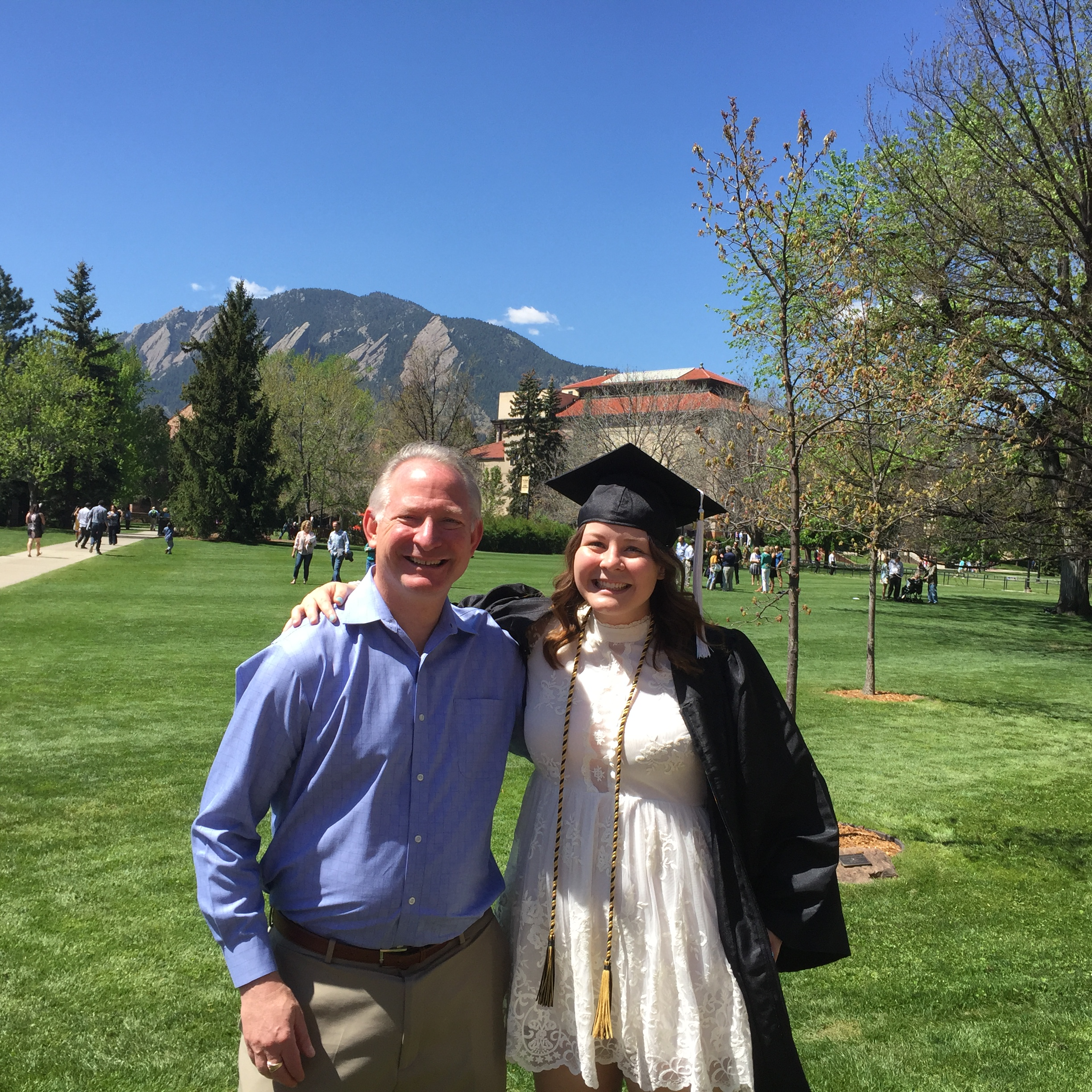 Steve with his daughter, Molly, at her graduation from the University of Colorado—Boulder