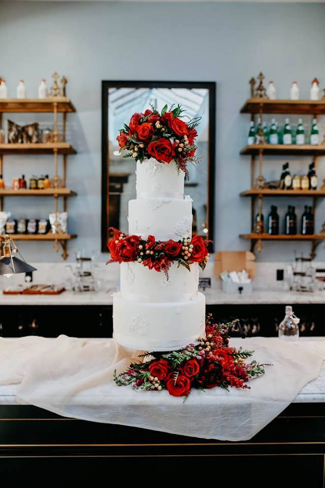 Four Tier Rose Wedding Cake | Utah Wedding Cakes