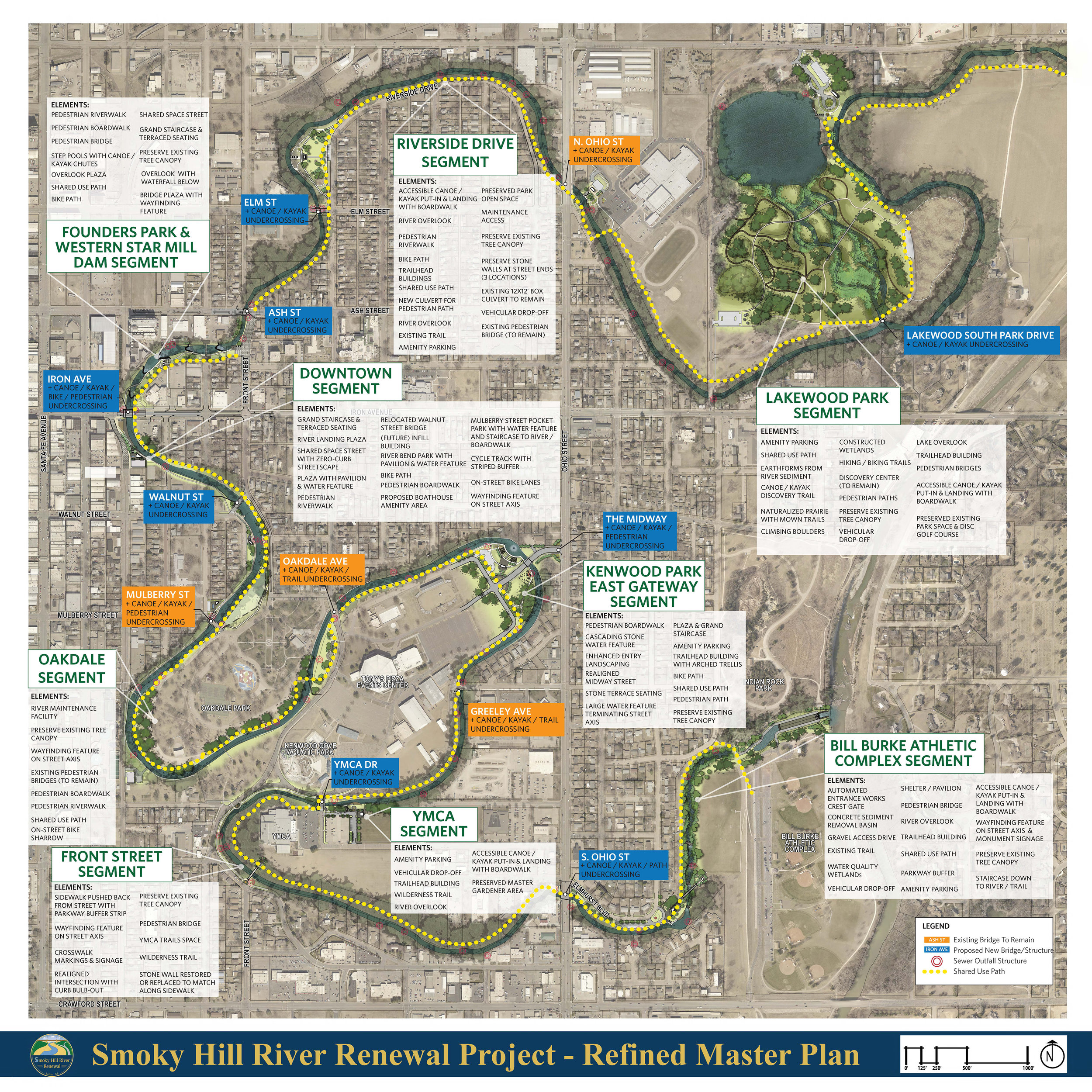 The primary goal of the master plan was to restore the dilapidated 6.8-mile-long urban segment of the Smoky Hill River, isolated since a levee and bypass channel were constructed in the 1960s, through a complete channel and riverbank reconstruction project. Along with the restored river and waterfront, a greenway and trail system will be created to provide residents and visitors alike a continuous, context-appropriate open space amenity. Along the trail, at strategic locations near existing public facilities and historic neighborhoods, design unique trailhead and canoe/kayak put-in facilities to provide easy and open access to the transformative waterway.