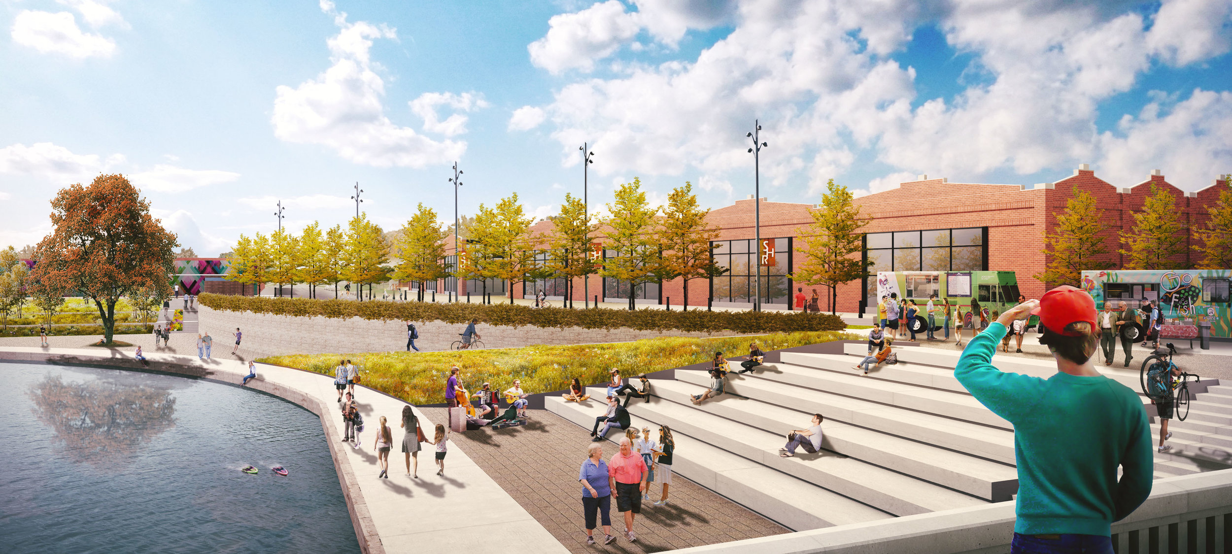 The design of the Iron Avenue Plaza focuses on the creation of an amenity area that engages users with the water while also creating a dynamic, street-level environment on 4th Street, a local street that services a redeveloping warehouse district.
