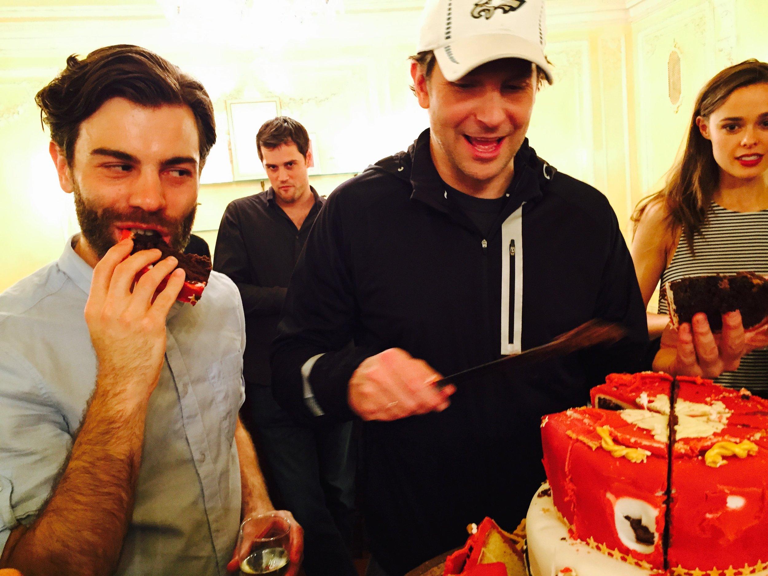Enjoying our opening cake!