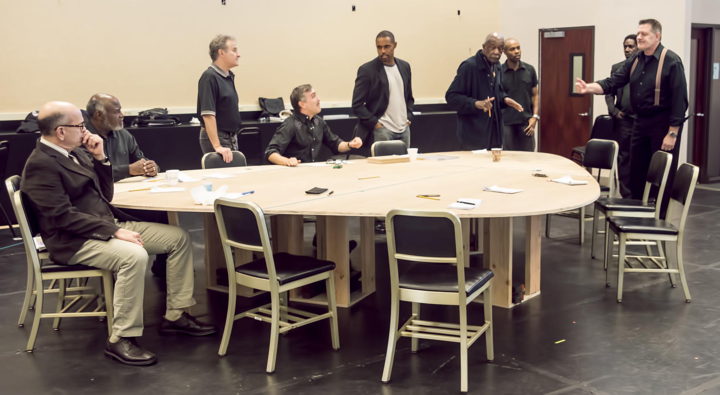 The Cast in rehearsal.  L to R Robert Picardo, Ellis Williams, Barry Pearl, Scott, Jason George, Adoplhus Ward, Jacques Smith, Clinton Derricks-Carroll, Greg North