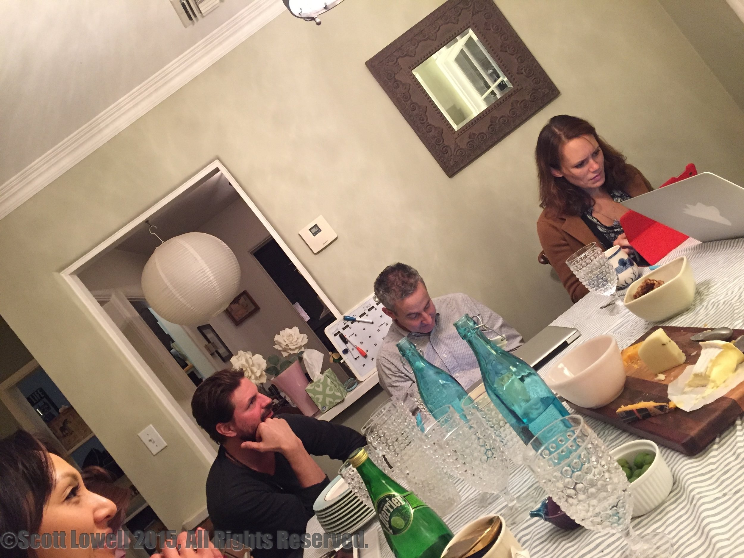 "11/04/15 Table Read of Season One of ADOPTABLE! L to R: Linda Park (""Jennifer""), Gale Harold (""Leland""), Eddie Jemison (""Chaim""), Emily Swallow (""Lisa"")"