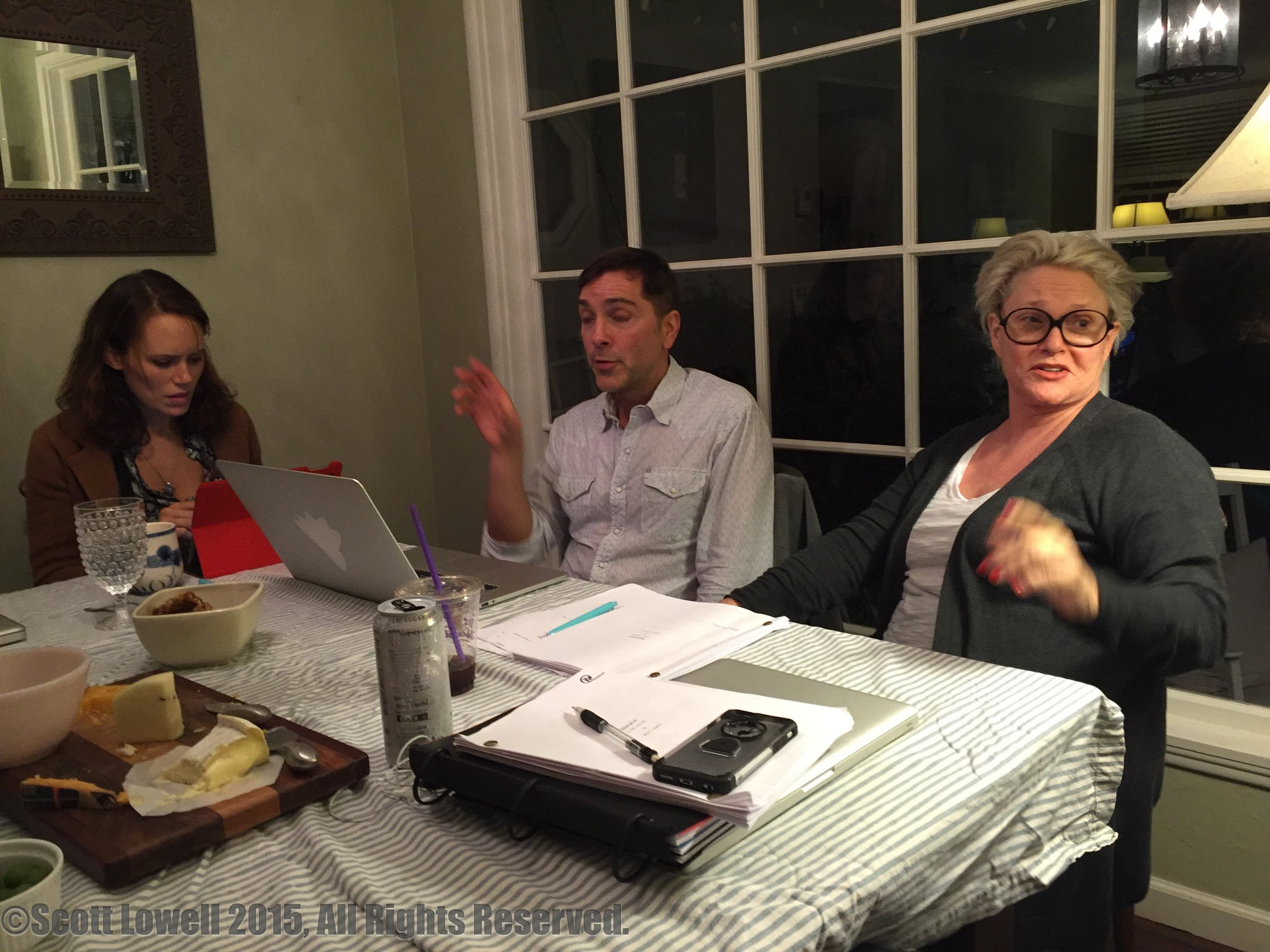 """11/04/15 Table Read of Season One of ADOPTABLE! L to R: Emily Swallow (""""Lisa""""), Scott Lowell (""""Scott""""), Sharon Gless (""""Mary Elizabeths"""")"""