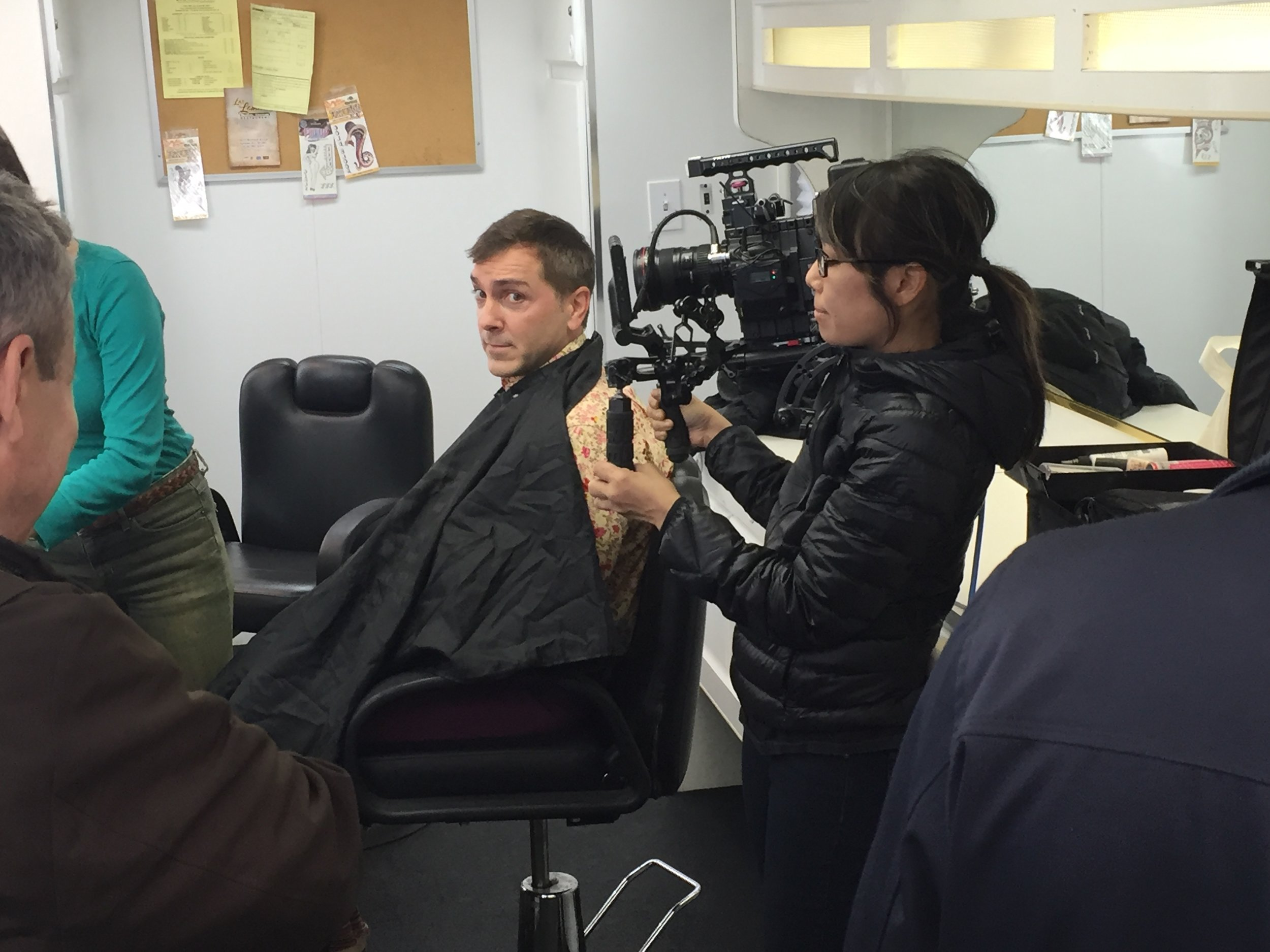 "1/15/16 Makeup Trailer Scenes, Star Waggons. L to R: Eddie Jemison (""Chaim""), Scott Lowell, Shirley Petchprapa (D.P.)"