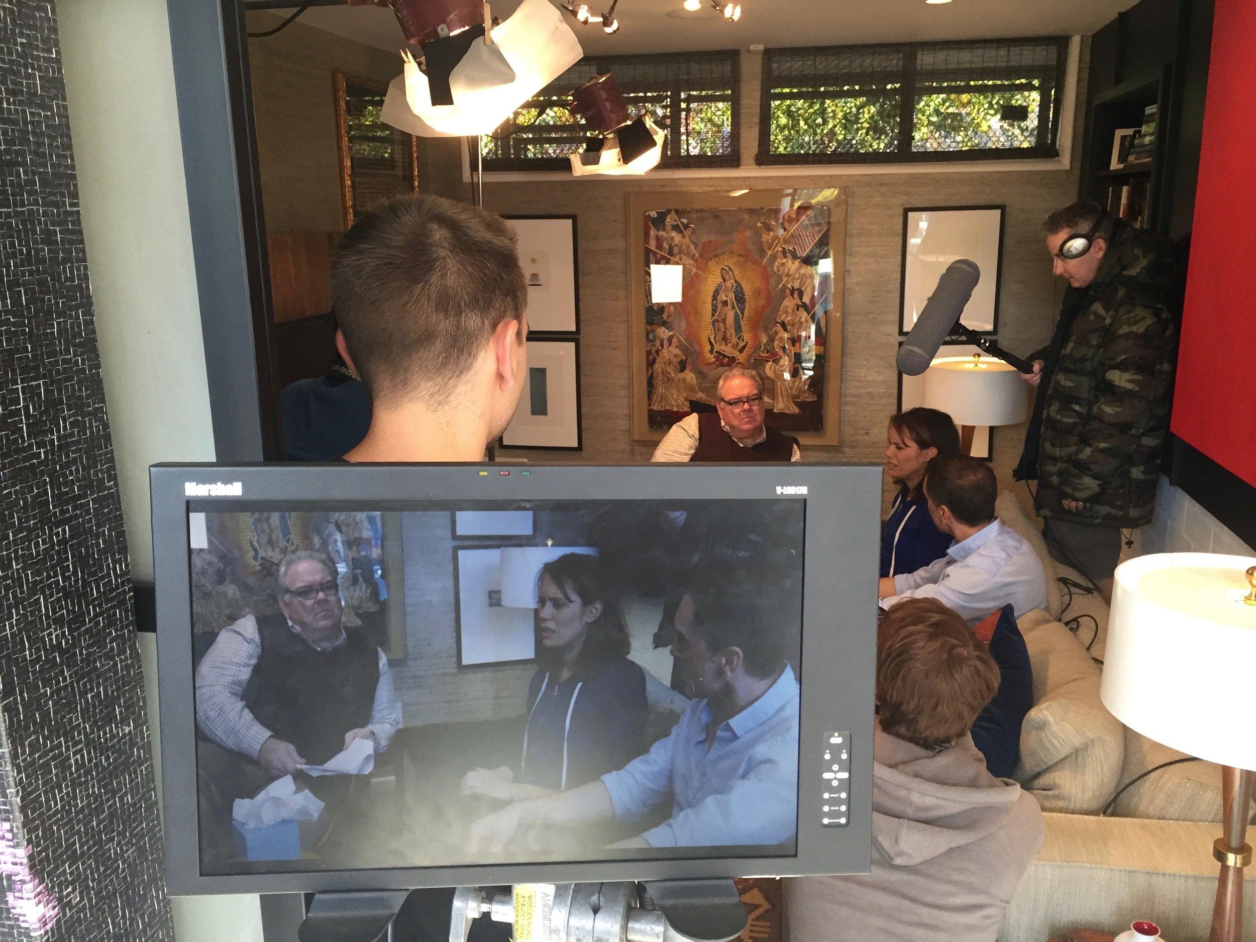 "1/17/16 Bob Raskins Therapy Office Scenes L to R: Ronnie Bourdeau II (A.C.), Jim O'Heir (""Bob""), Emily Swallow (""Lisa""), Eddie Jemison (""Chaim""), Scott Lowell"