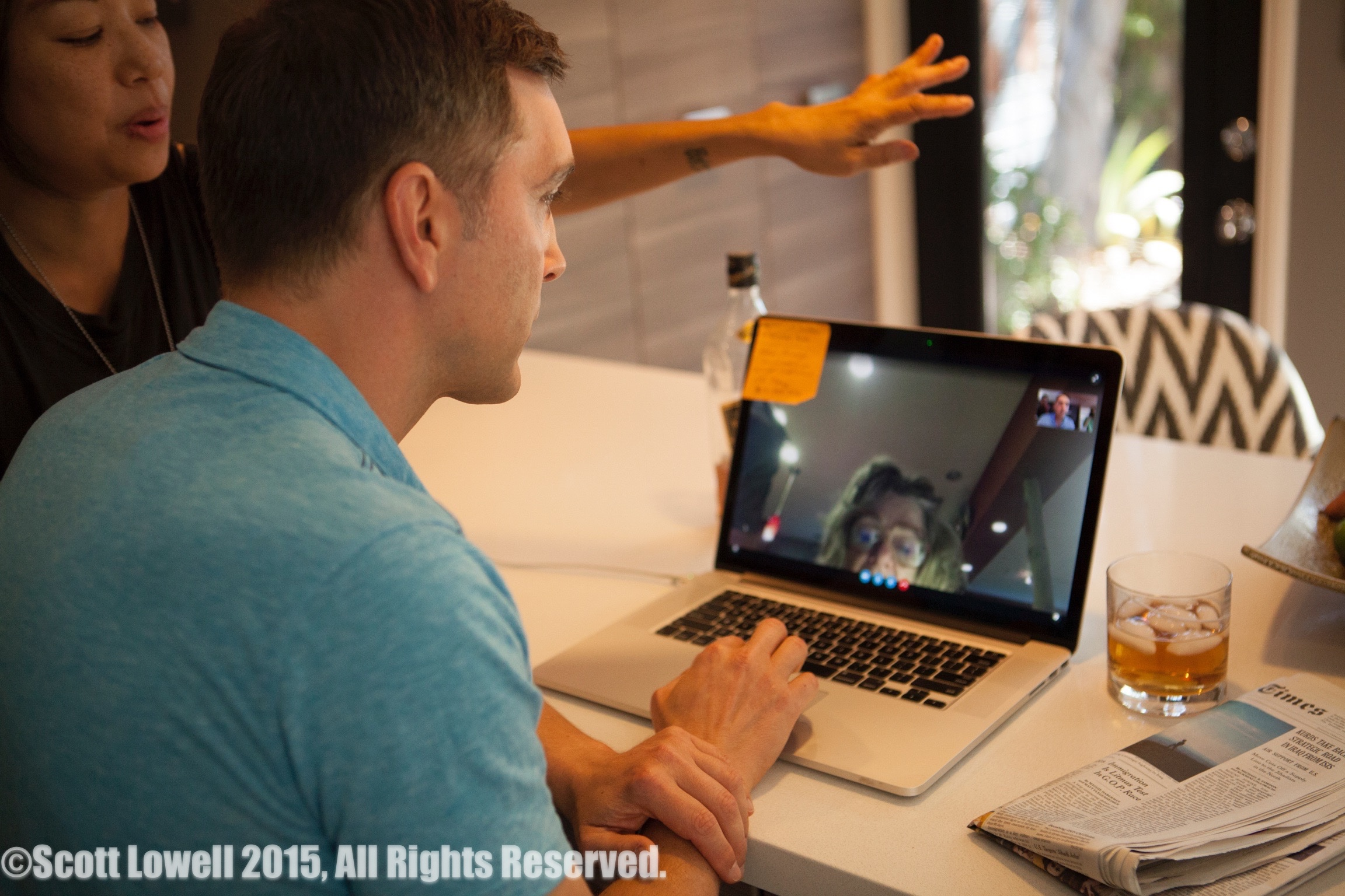 """11/13/15 Filming at """"Scott & Lisa's"""" Home. Video chat with Mom L to R: Shirley Petchprapa (D.P.), Scott Lowell, (on computer) Vana O'Brien (""""Lois"""")"""