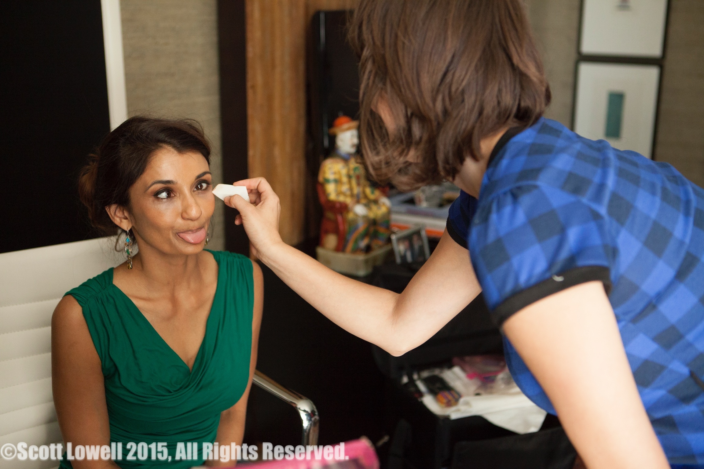 "11/13/15 Filming at ""Scott & Lisa's"" Home. Makeup on ""Makeup) L to R: Anjali Bhimani (""Jasmine"" fake makeup), Ashley Hooker (real Hair/MU)"