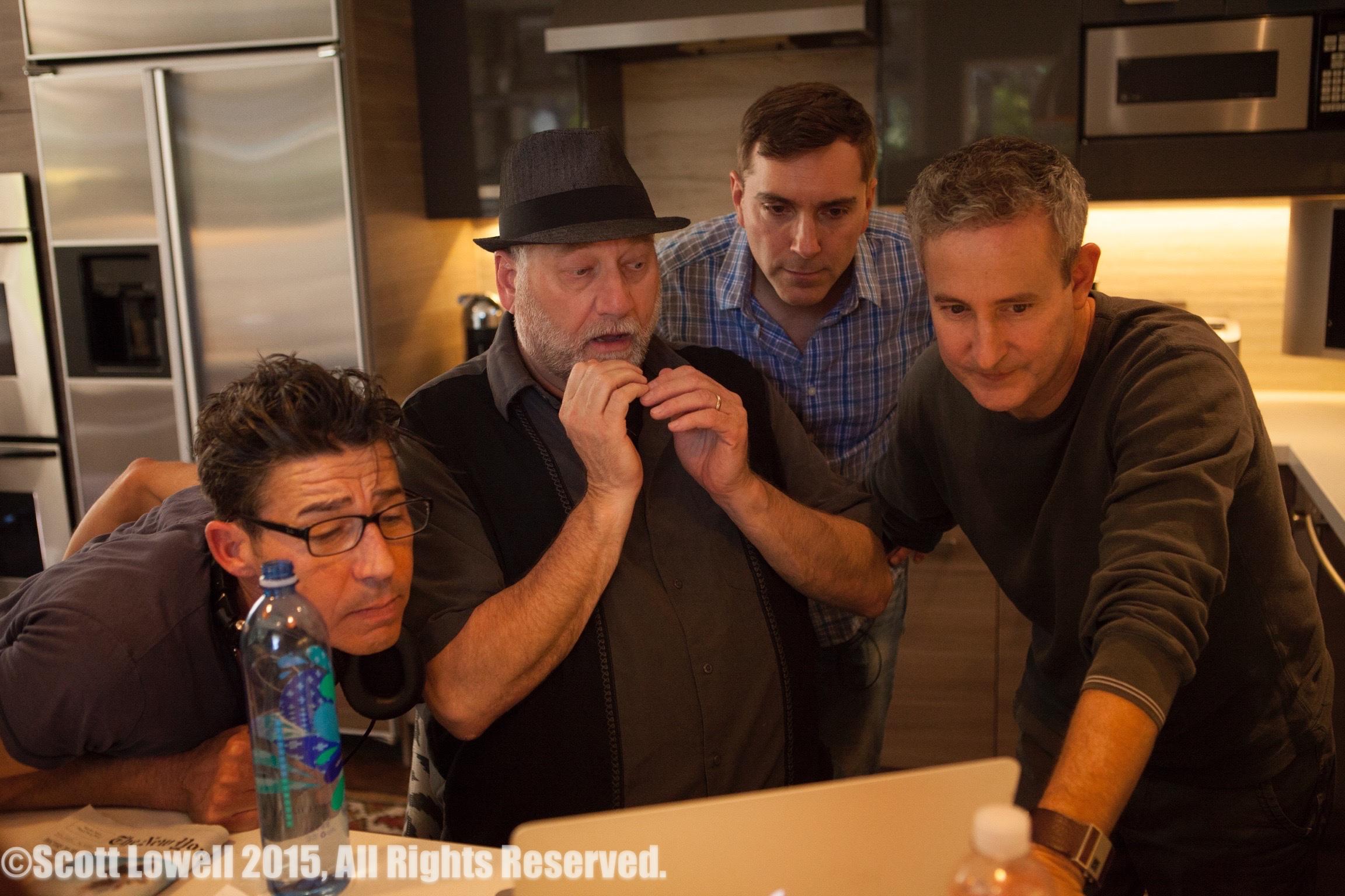 "11/13/15 Filming at ""Scott & Lisa's"" Home. L to R: Monty Miranda (Dir.), Ron Orbach (""Zolton""), Scott Lowell, Eddie Jemison (""Chaim"")"