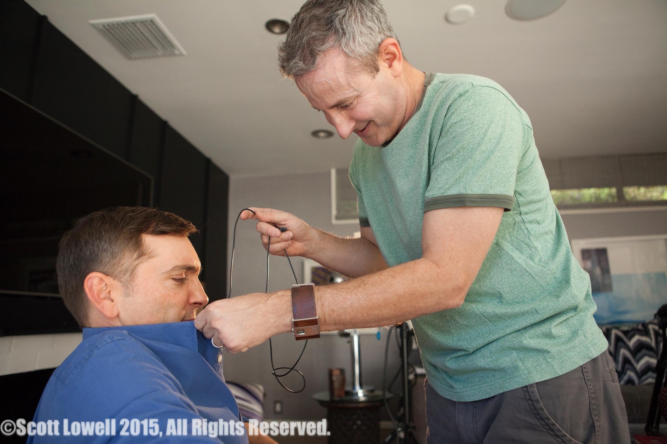 "11/13/15 Filming at ""Scott & Lisa's"" Home. Interview scenes L to R: Scott Lowell, Eddie Jemison (""Chaim"")"