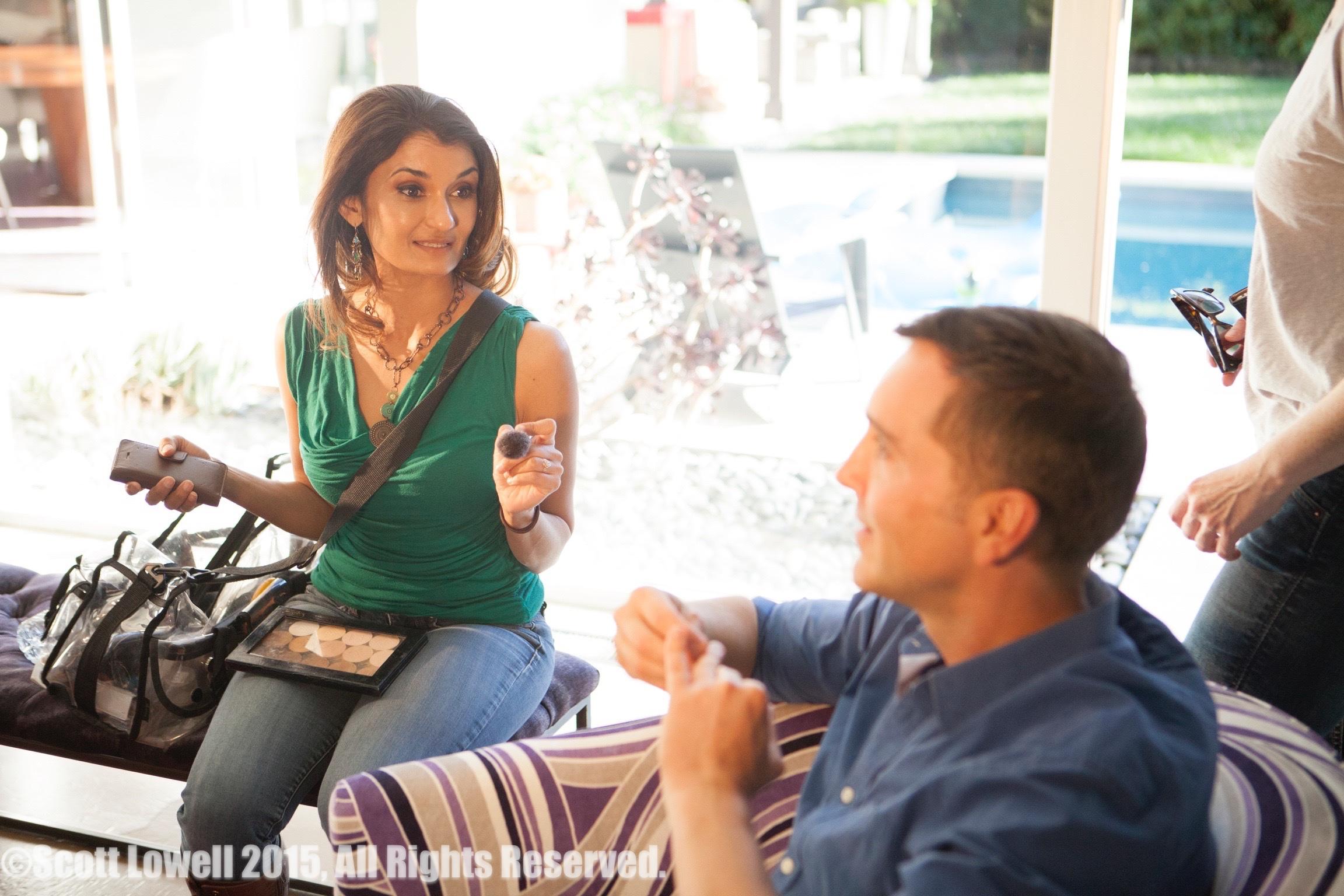 """11/13/15 Filming at """"Scott & Lisa's"""" Home. Interview scenes. L to R: Anjali Bhimani (""""Jasmine""""), Scott Lowell"""