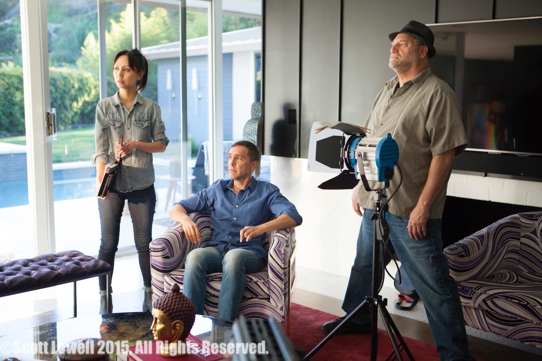 "11/13/15 Filming at ""Scott & Lisa's"" Home. Interview scenes. L to R: Linda Park (""Jennifer""), Scott Lowell, Ron Orbach (""Zolton"")"