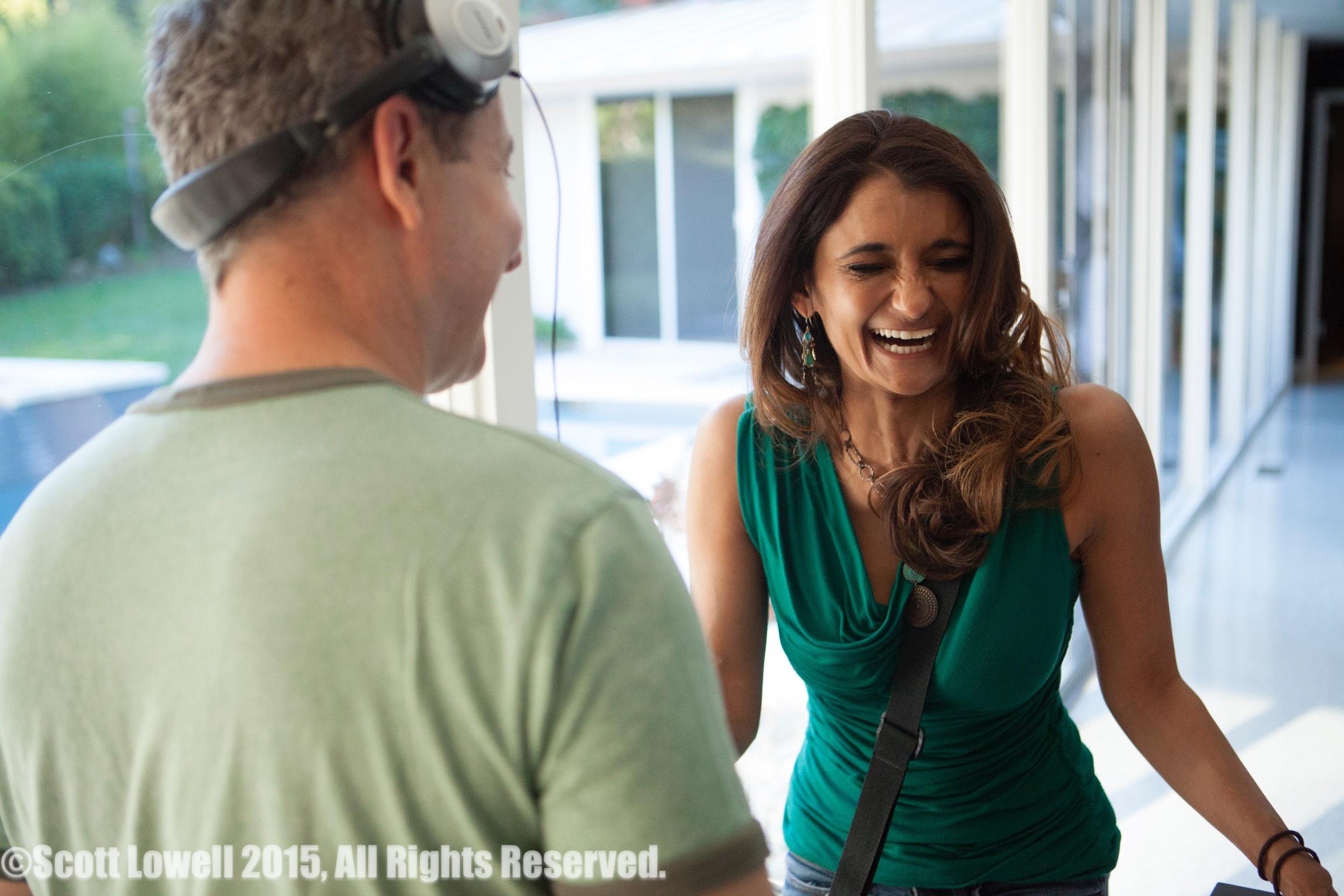"11/13/15 Filming at ""Scott & Lisa's"" Home. Interview scenes. L to R: Eddie Jemison (""Chaim""), Anjali Bhimani (""Jasmine"")"