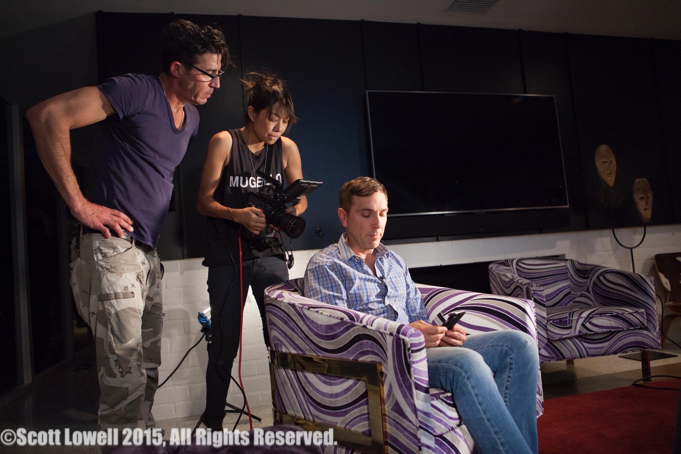 "11/13/15 Filming at ""Scott & Lisa's"" Home. Interview scenes. L to R: Monty Miranda (Dir.), Shirley Petchprapa (D.P.), Scott Lowell"