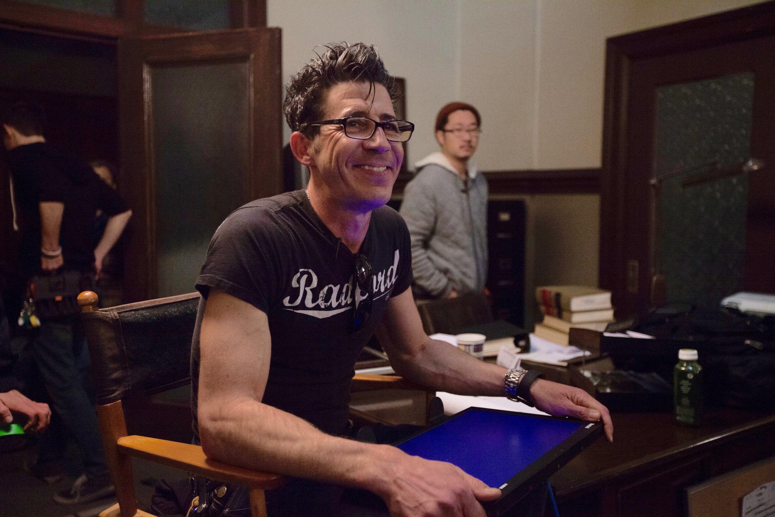 1/16/16 Cops & Bottoms Production Office Scene. L to R: Monty  Miranda (Dir.), Jae Kim (Sound)