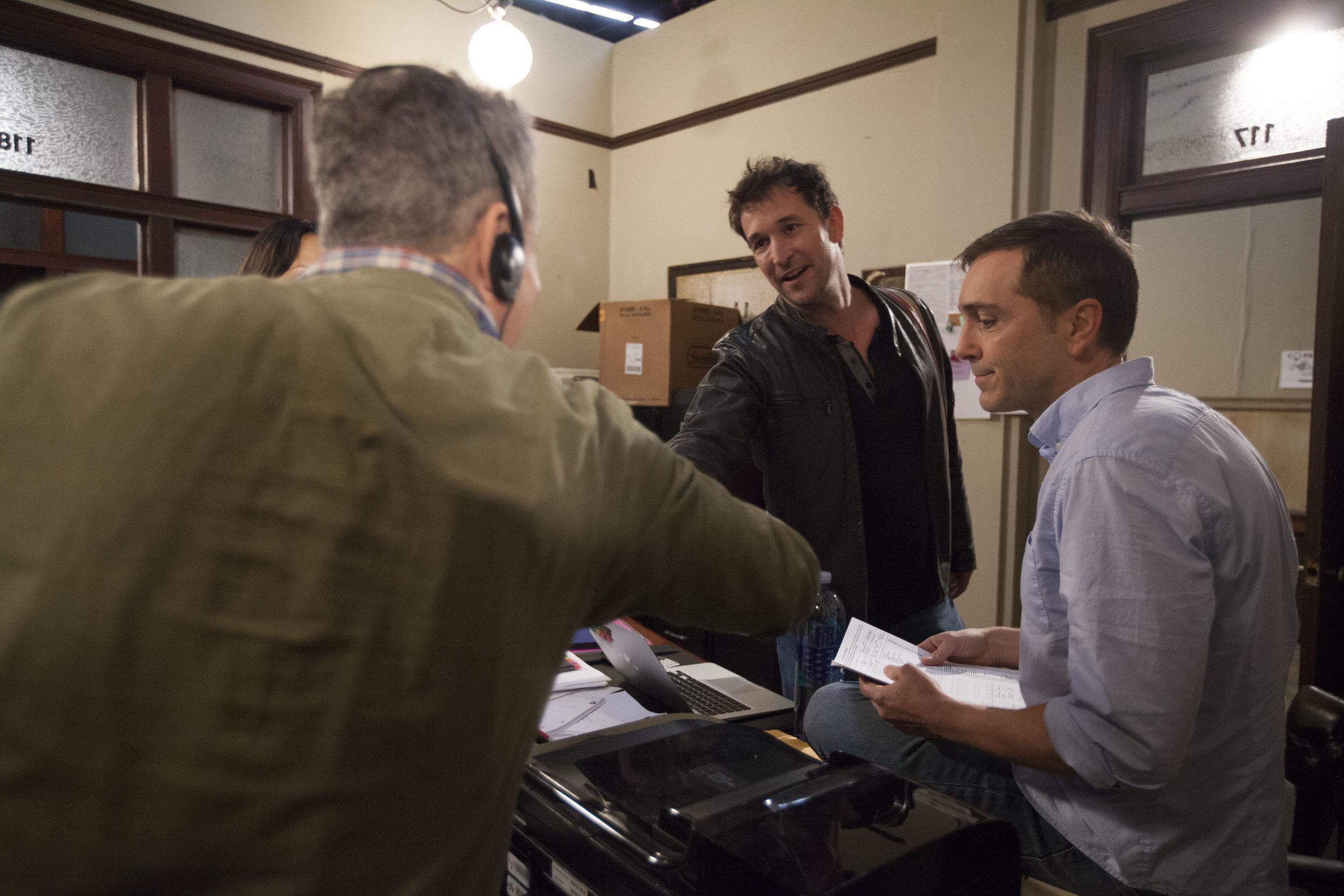 "1/16/16 Cops & Bottoms Production Office Scene. L to R: Eddie Jemison (""Chaim""), Noah Wyle (""Noah""), Scott Lowell"