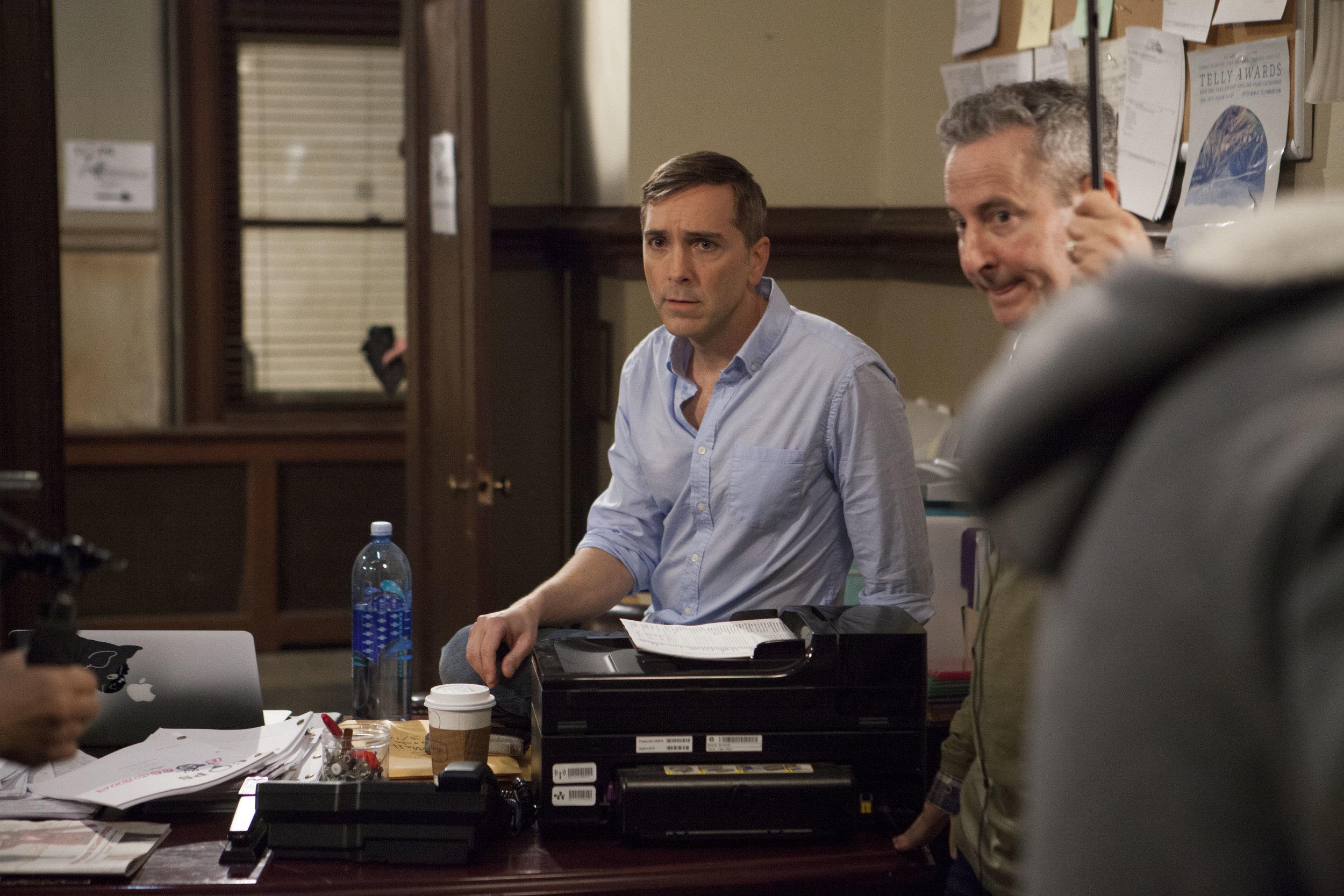 "1/16/16 Cops & Bottoms Production Office Scene. L to R: Scott Lowell, Eddie Jemison (""Chaim"")"
