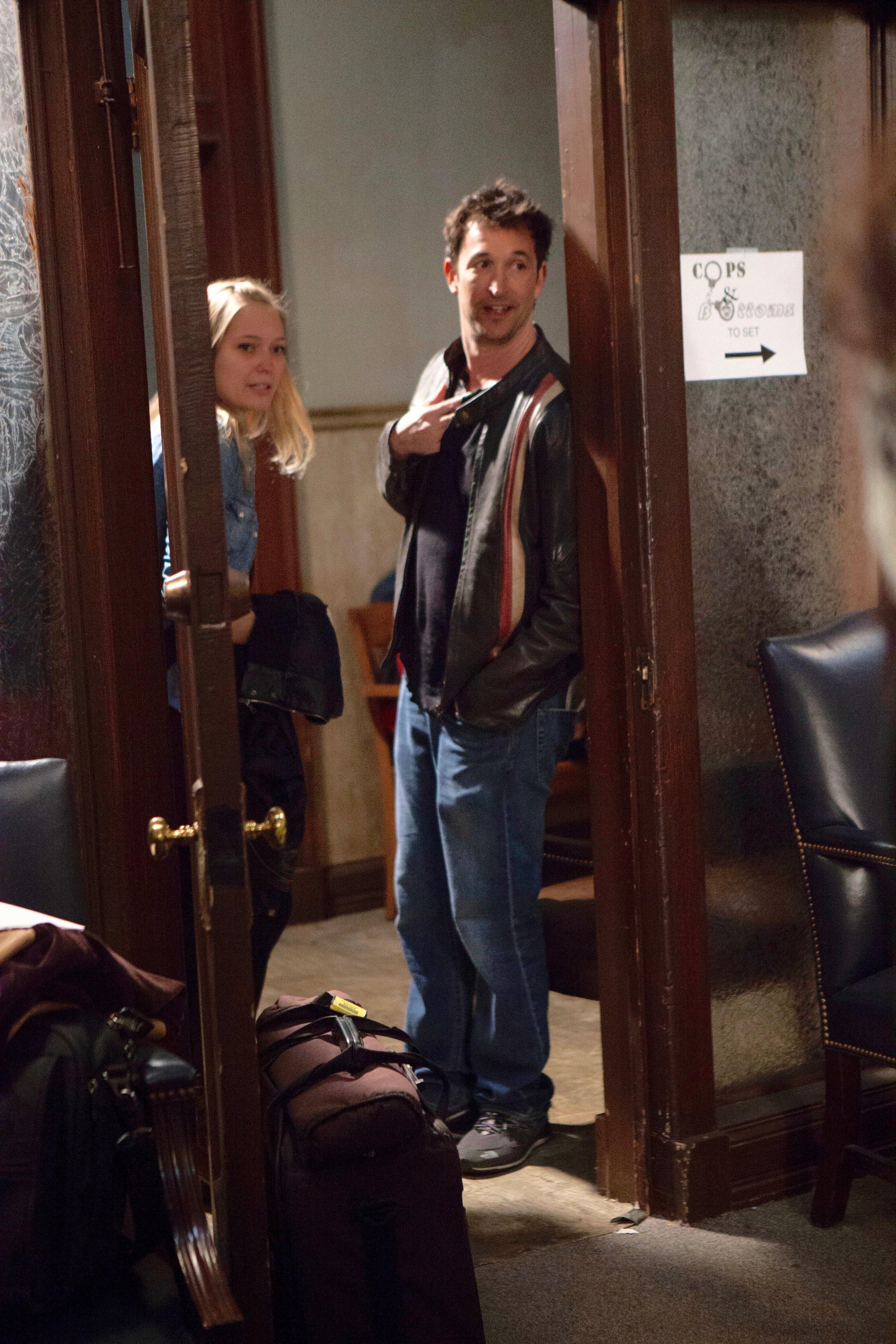 "1/16/16 Cops & Bottoms Production Office Scene. L to R: Britt Harris (""Prod. Ass.""), Noah Wyle (""Noah"")"