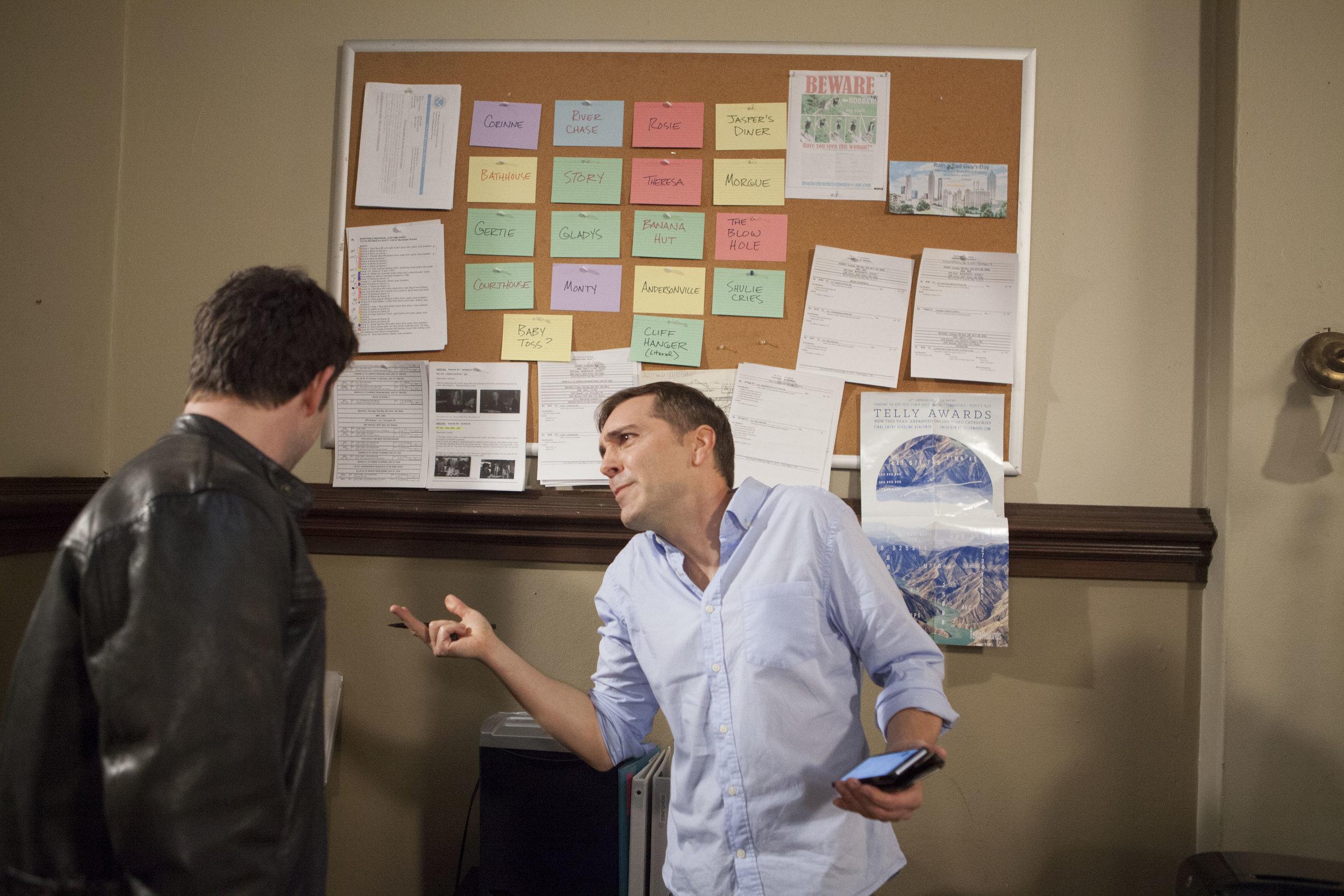 """1/16/16 Cops & Bottoms Production Office Scene. L to R: Noah Wyle (""""Noah""""), Scott Lowell"""