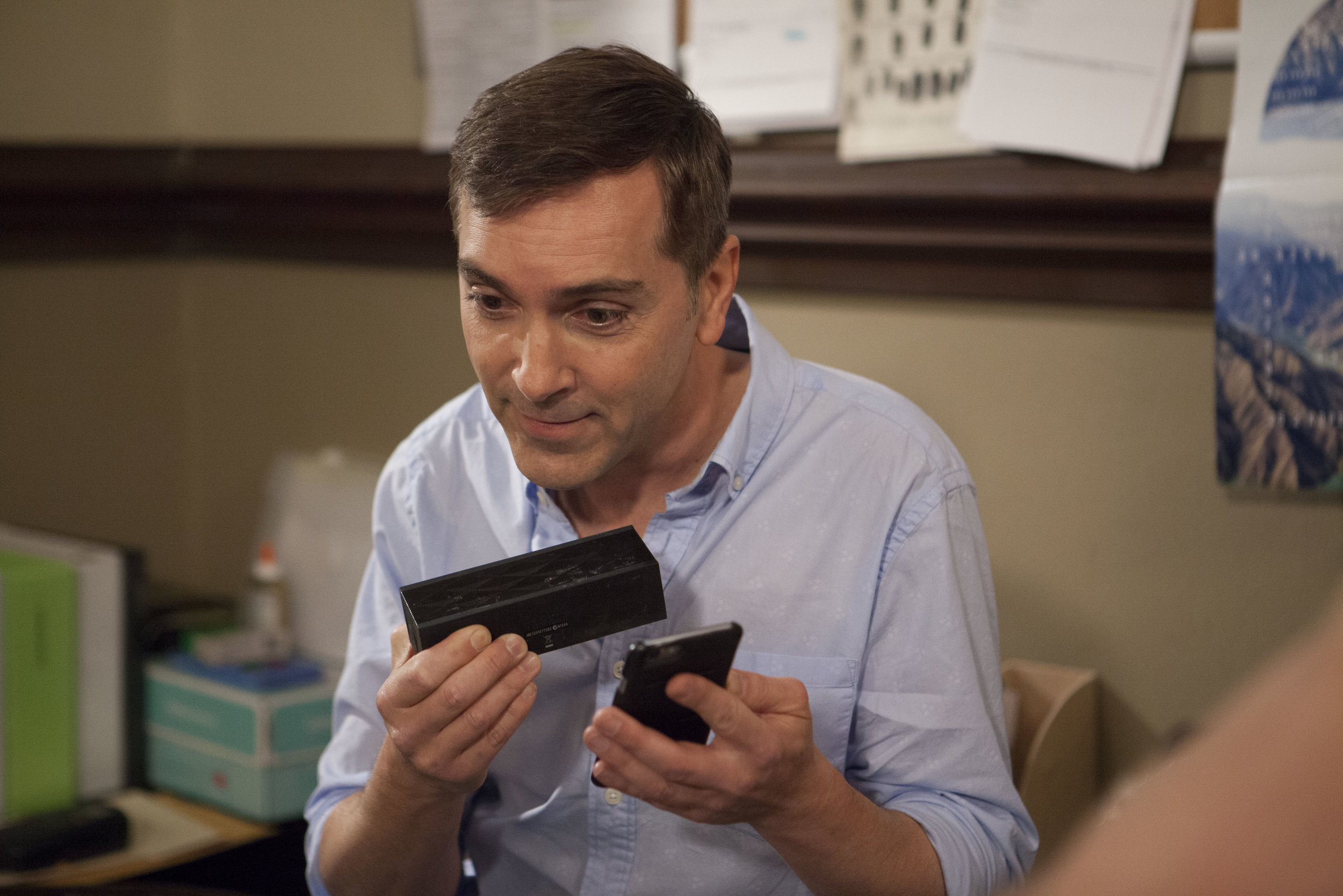 "1/16/16 Cops & Bottoms Production Office Scene. Scott Lowell, Sharon Gless (""Mary Elizabeths"") on phone"