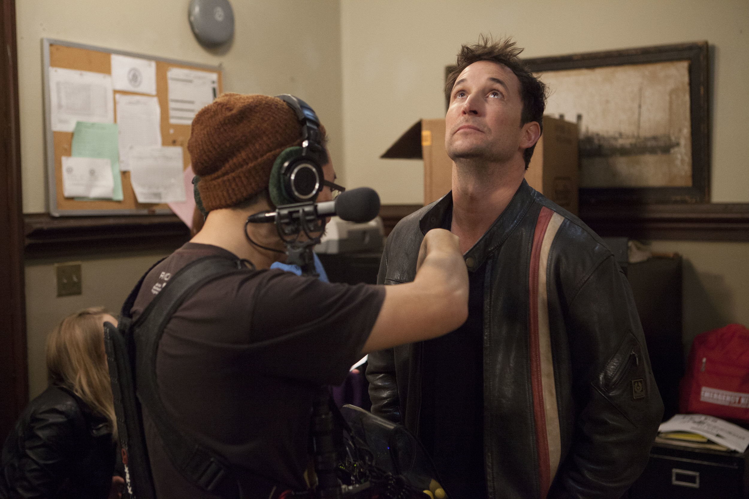 """1/16/16 Cops & Bottoms Production Office Scene. L to R: Jae Kim (Sound), Noah Wyle (""""Noah"""")"""
