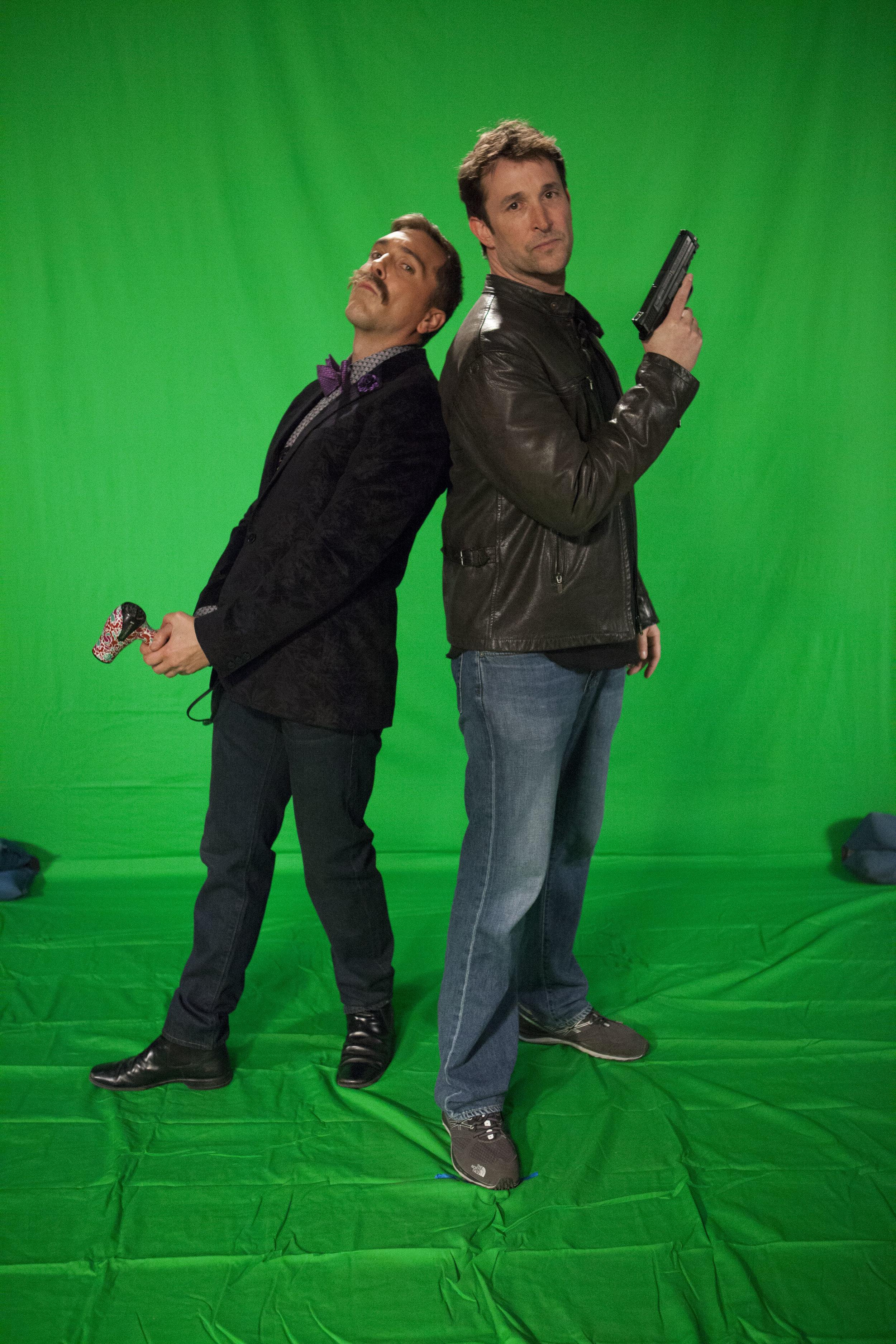 """1/16/16 Cops & Bottoms Billboard Photo Shoot. L to R: Scott Lowell, Noah Wyle (""""Noah""""/""""Bratkowski"""")"""