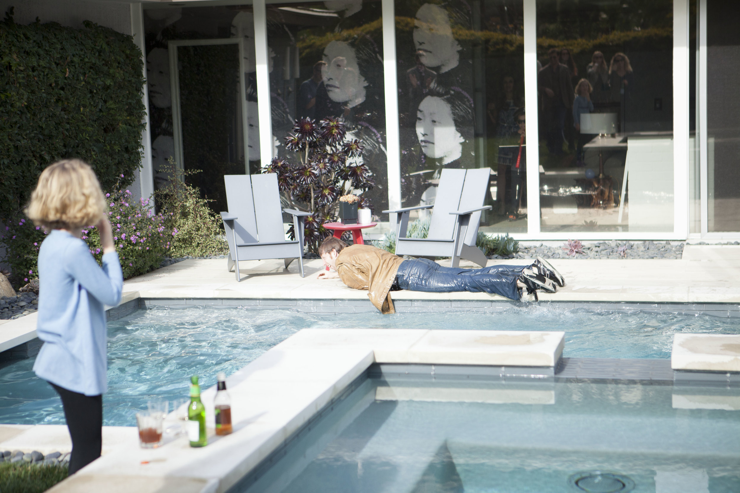 """1/17/16 Garden Party Scene. Lisa's Brother falls in the pool. L to R: Daisy Jemison (""""Noah's Daughter""""), Mike Harthen (""""Lisa's Brother"""")"""