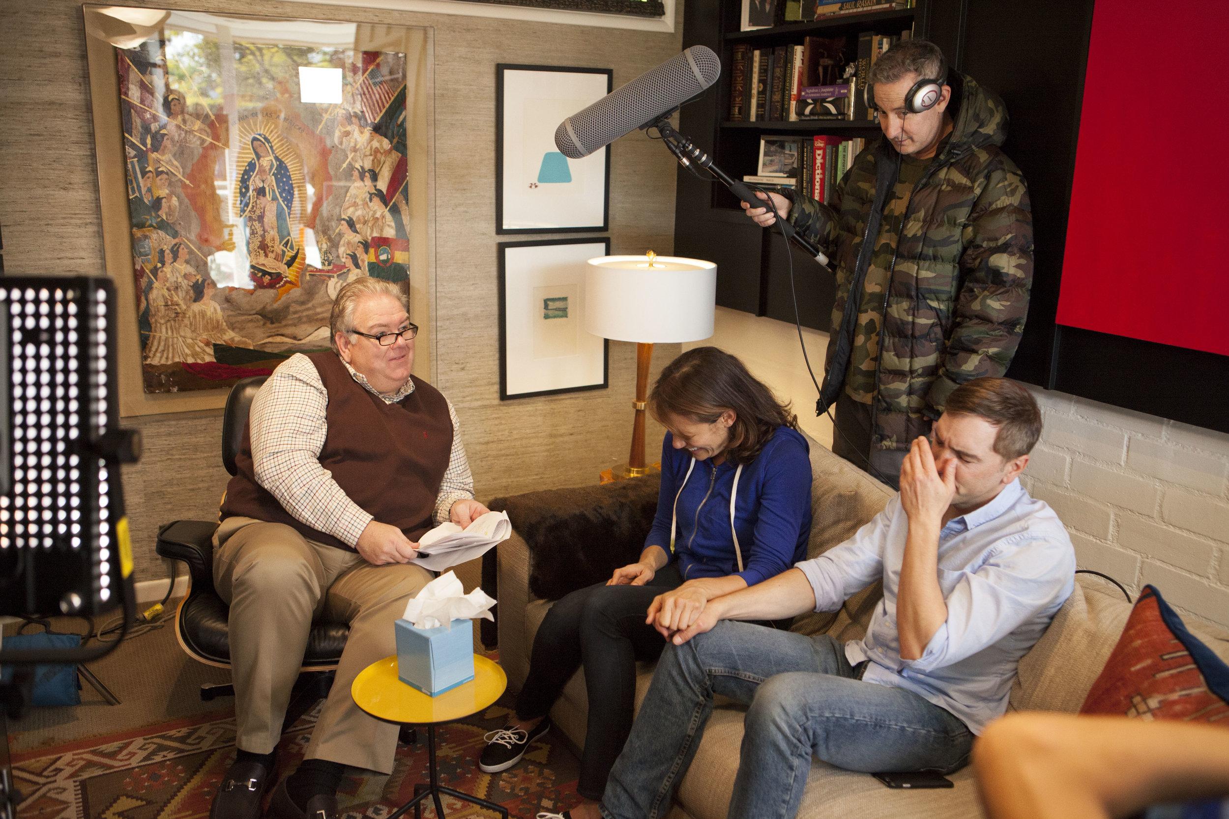 "1/17/16 Bob Raskins Therapy Office Scenes L to R: Jim O'Heir (""Bob""), Emily Swallow (""Lisa""), Eddie Jemison (""Chaim""), Scott Lowell"
