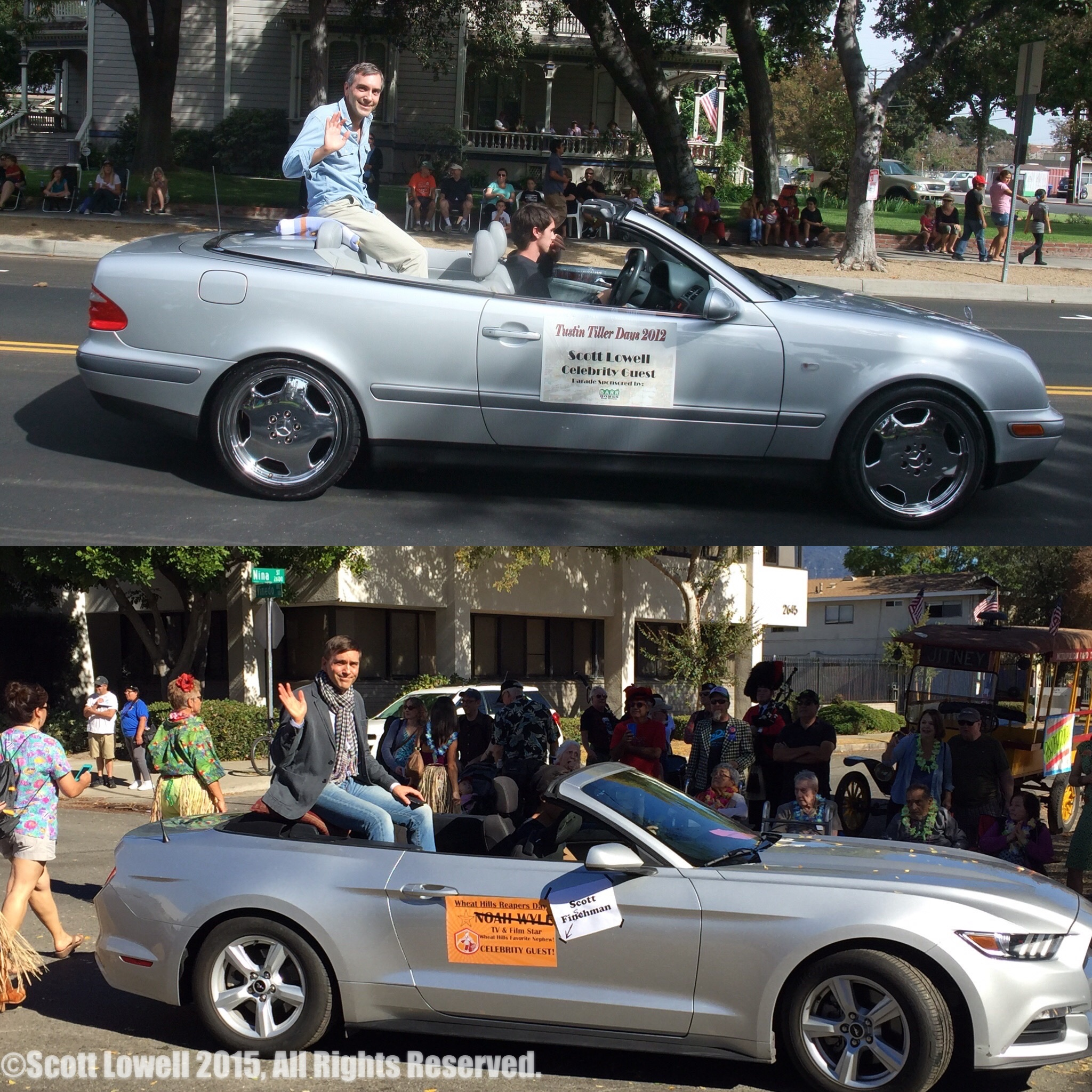 "11/22/15 Parade Scene. Reality vs. Fantasy. Scott Lowell at Tustin Tiller Days Parade 2012, ""Scott Fishman"" at Wheat Hills Reapers Day Parade 2015"
