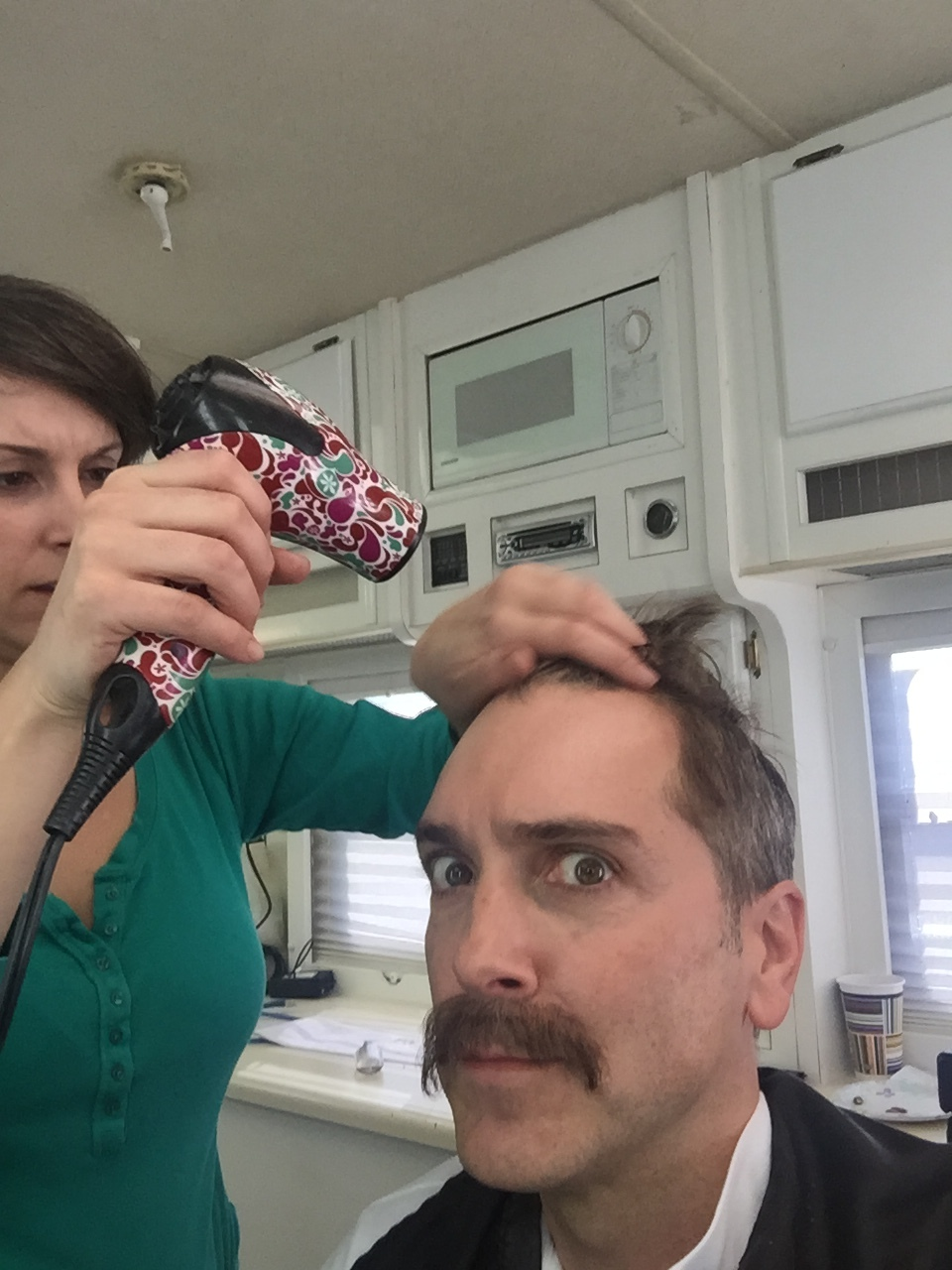 1/15/16 Makeup Trailer Scenes at Star Waggons L to R: Ashley Hooker (Hair/MU), Scott Lowell