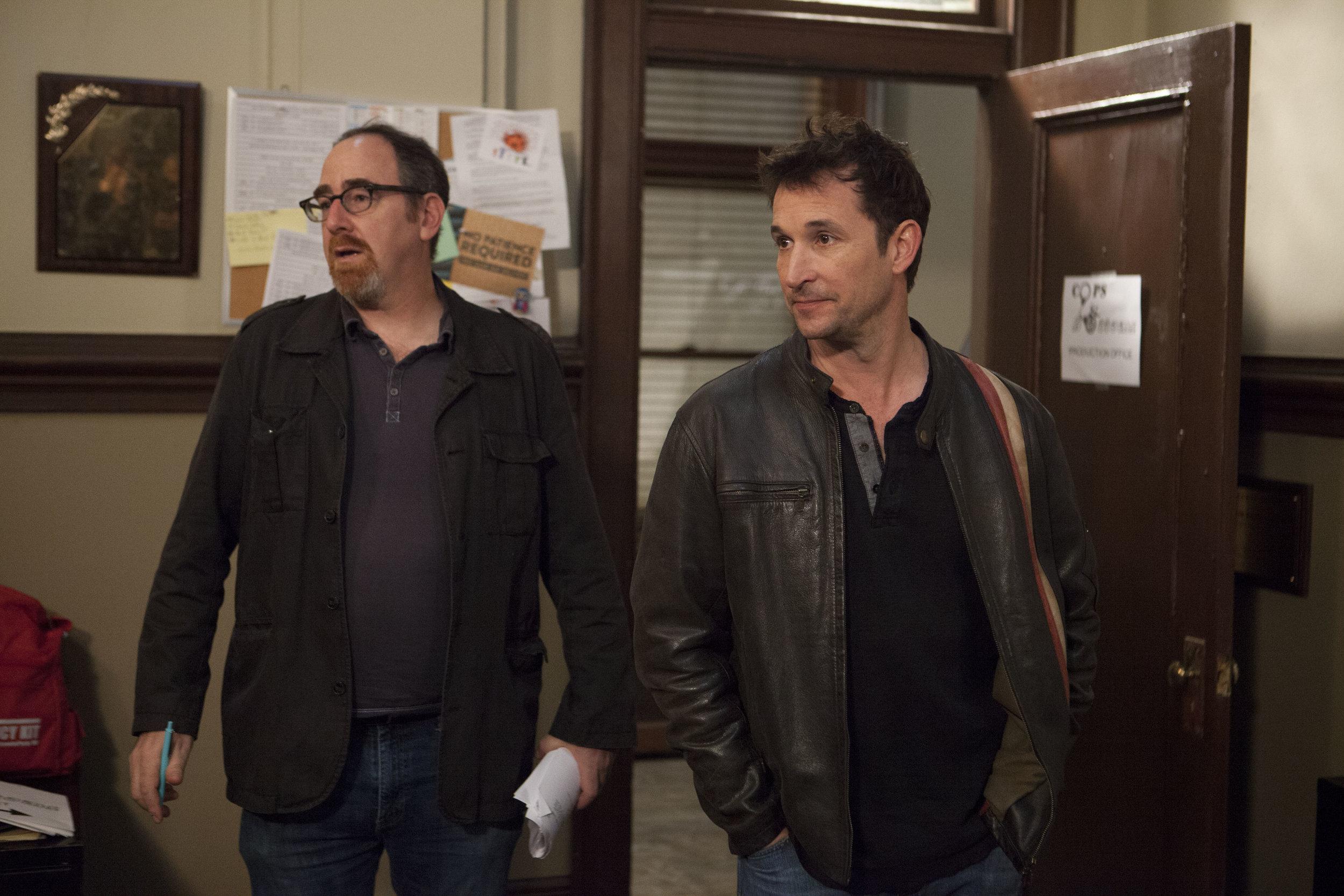 "1/16/16 Cops & Bottoms Production Office Scene. L to R: Jeff Rosenthal (Exec. Prod.), Noah Wyle (""Noah"")"