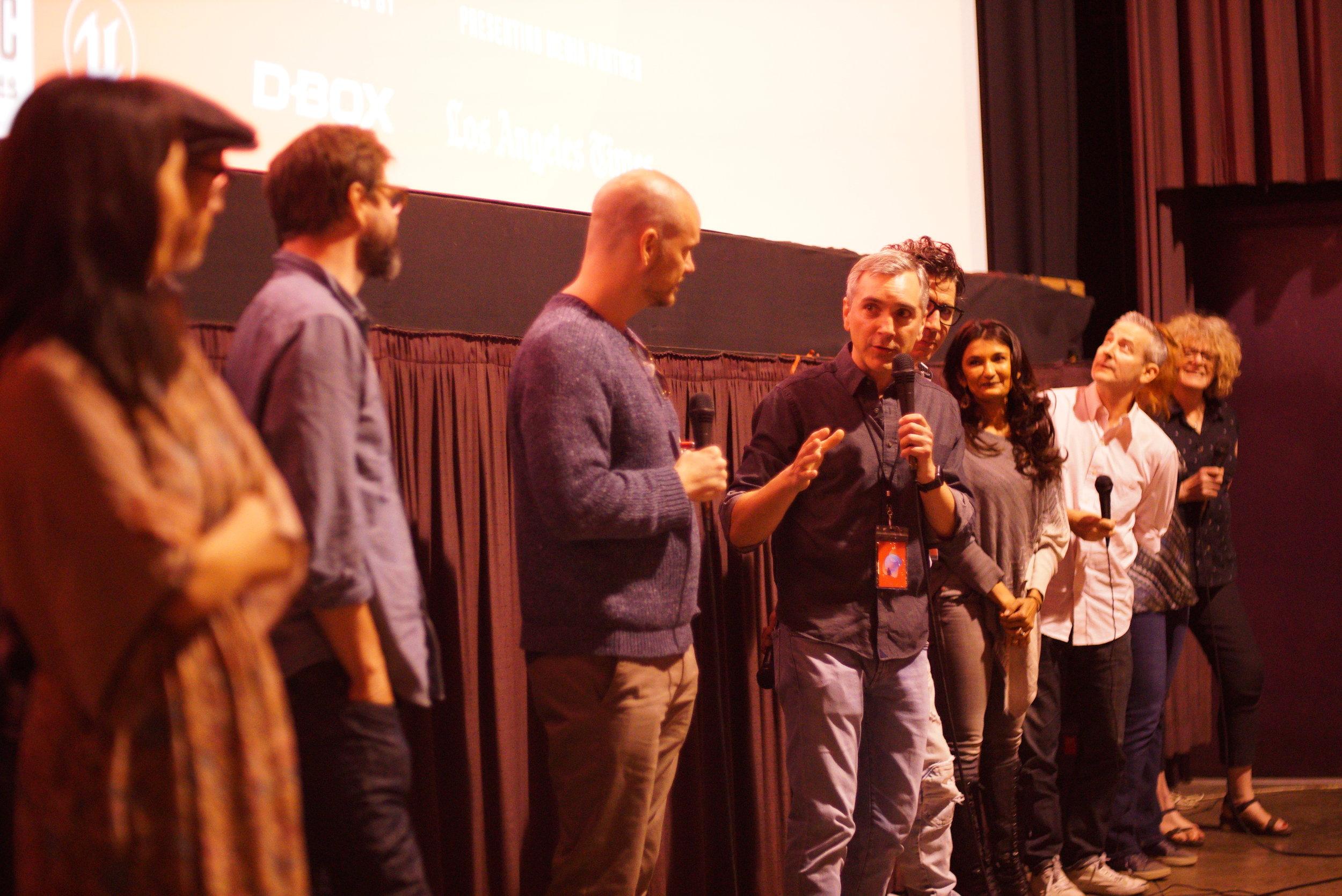 ADOPTABLE! screening at IFF 11/4/18 Q&A (l - r) Linda Park, Jeff Rosenthal, Gale Harold, Peter Paige, Scott, Monty Miranda, Anjali Bhimani, Eddie Jemison, Vana O'Brien