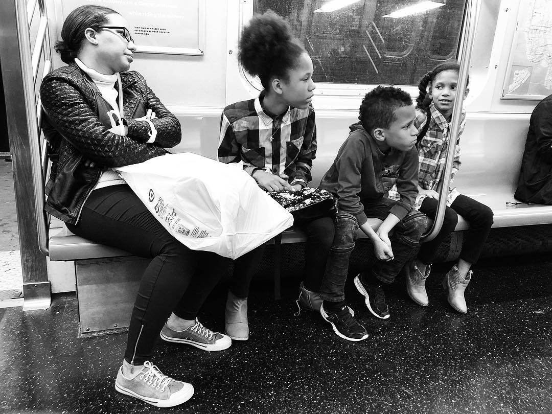 Fell in love with this family as we all waited and waited for the Q train to get us home in the wee hours last night. Couldn't pick a favorite out of all these. #4 (Oct. 7, 2018)