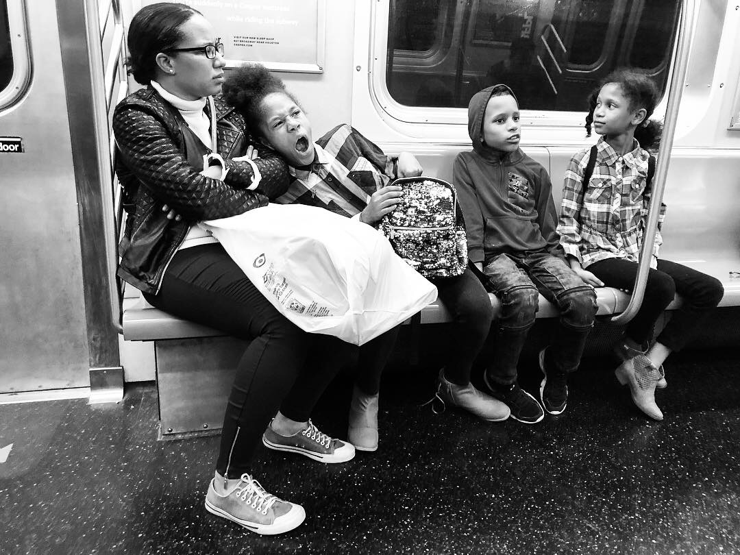 Fell in love with this family as we all waited and waited for the Q train to get us home in the wee hours last night. Couldn't pick a favorite out of all these. #8 (Oct. 7, 2018)