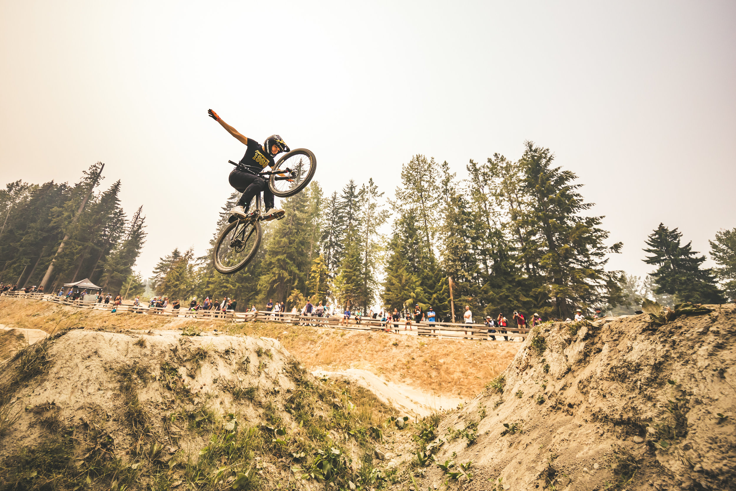 Caroline Buchanan's winning Tuck No Hander at the Ladies Only Jump Jam, Crankworx, Whistler. Photo credit Trevor Lyden