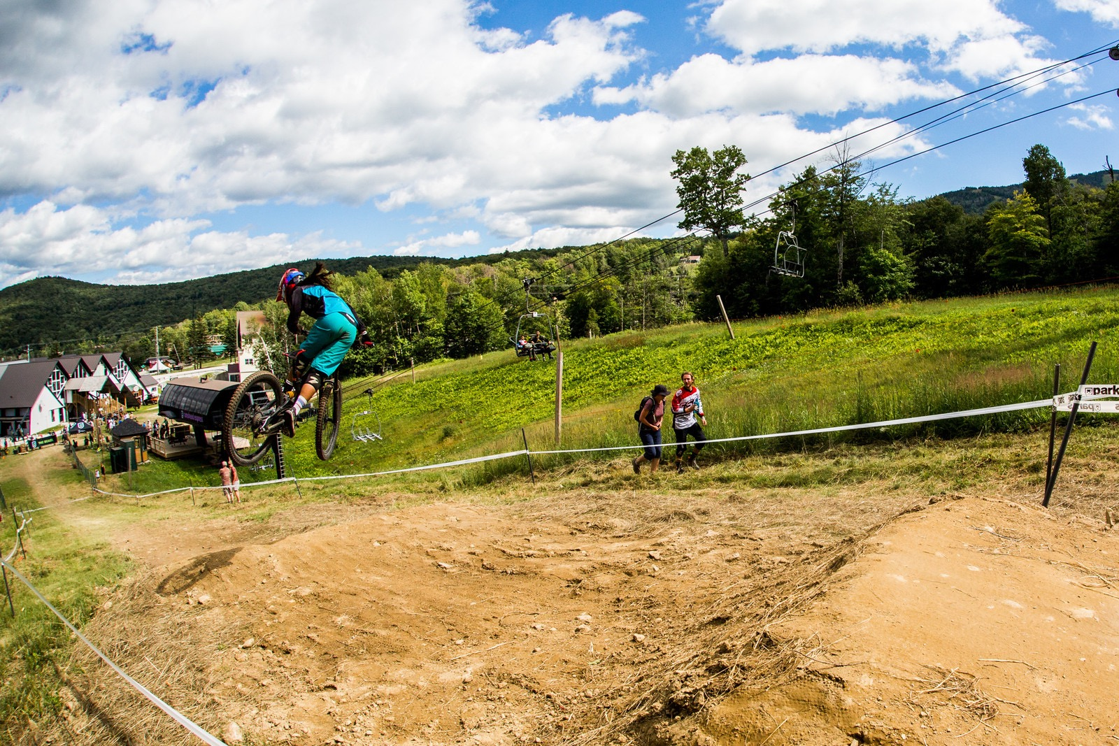 Kicked out whip at Killington Bike Park's Pro GRT in Vermont. Photographer: Zach Faulkner