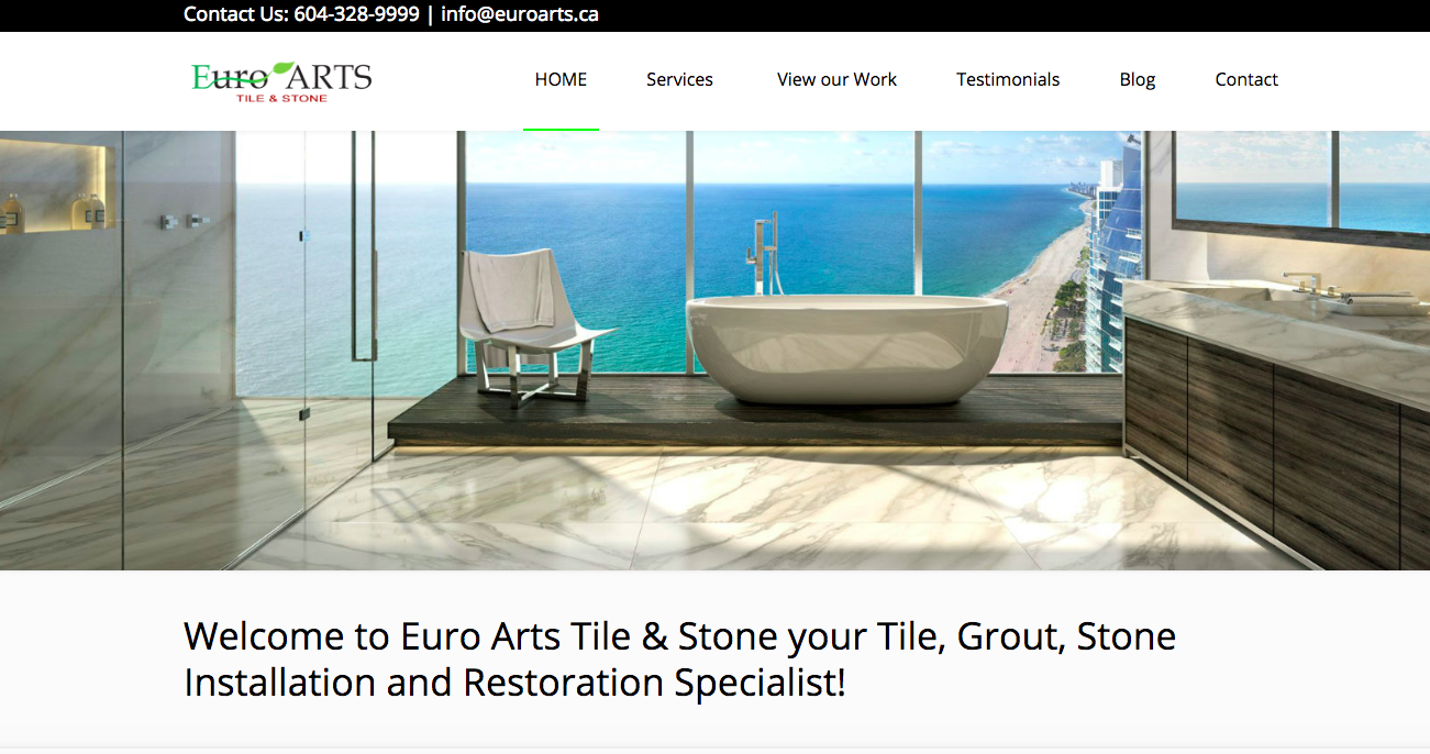 Euro Arts Tile & Stone - This customer required both a new website and SEO rankings that would put them at the top of the field in their industry. We succeeded in helping them do it that on both counts.