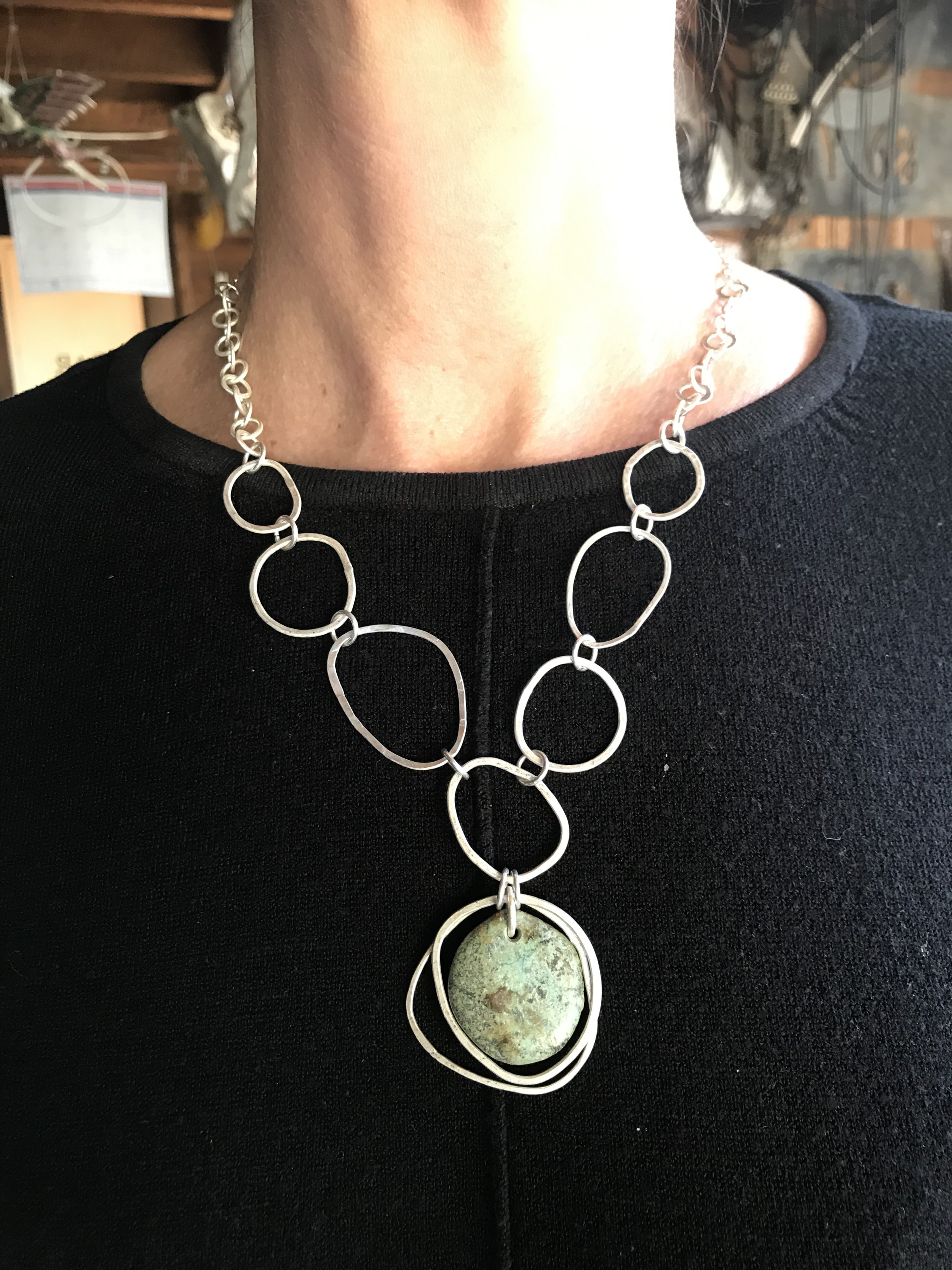 Hammered Pendants Workshop Saturday May 18th 2019 - Hi TracyI just wanted to send you a very big thank you for another wonderful day on Saturday! You are the most patient person and always so encouraging. I love your work and spending time with you in your studio is a real treat! I love our pendant we made! She's beautiful!Lots of love,Tina