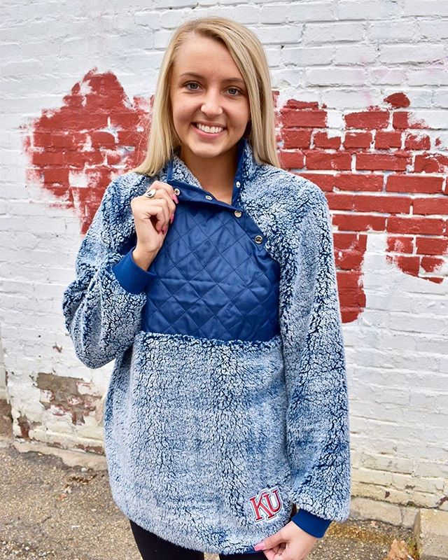 """Hey KU fans - go check out Rally House's new Rah Rah Collection! We LOVE how our Sherpa snap placket turned out 😍❤️💙⠀ ⠀ Rally House Lawrence on Instagram: """"The temps are dropping and the sherpas are out! Check out this brand new Rah Rah Sherpa! Unique right? ❤️ • • #myrallyhouse #kansas #sherpa…"""" https://buff.ly/2py7H6R"""