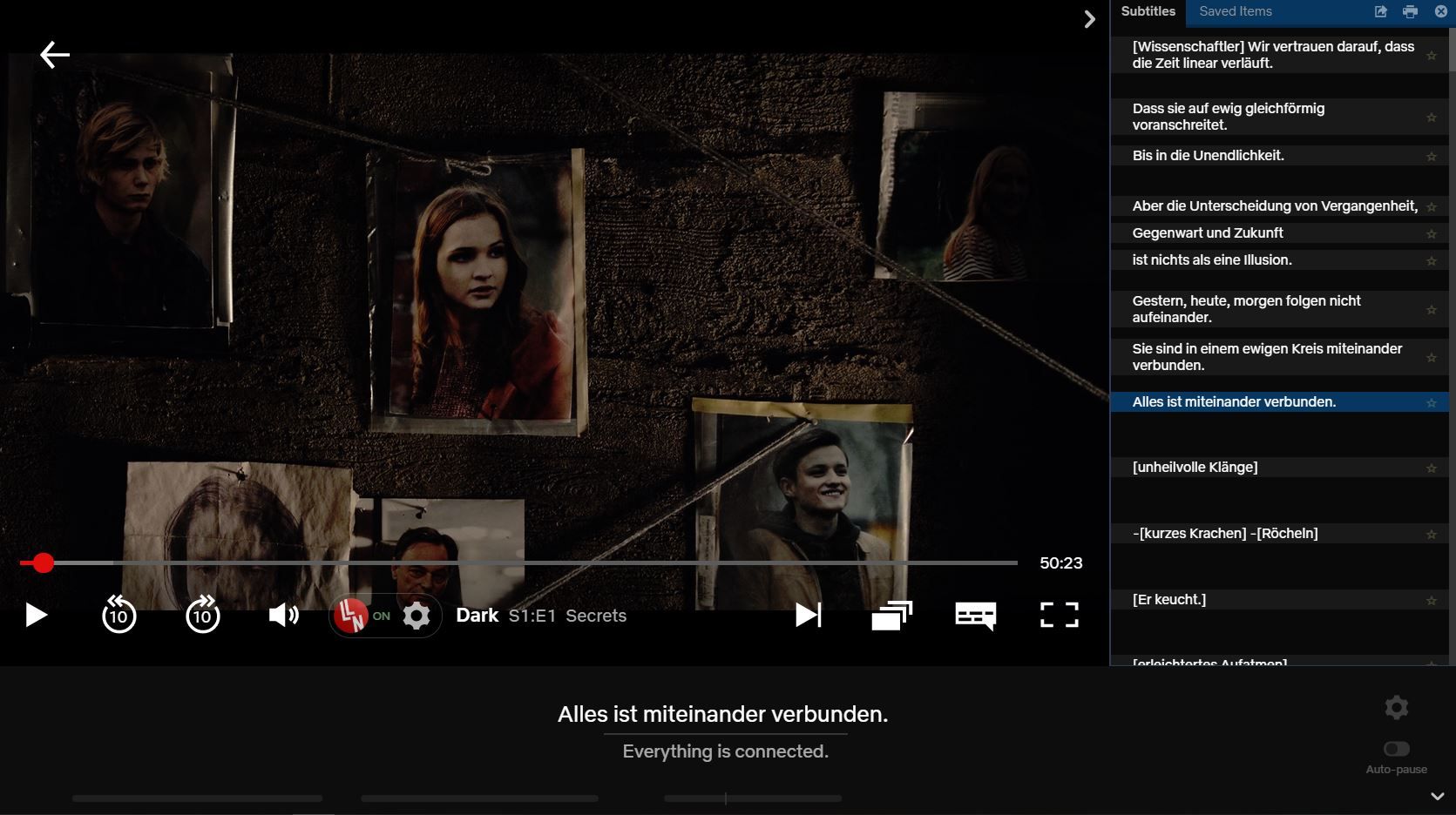 using the Language learning with netflix chrome extension - Dark (original language: German)