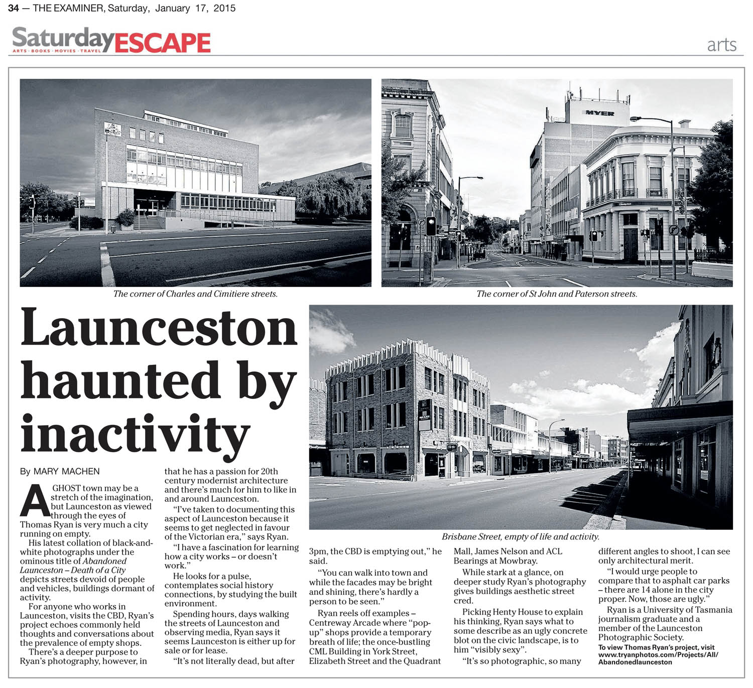 The Examiner Newspaper, Interview about my project ''Launceston - Death of a City'' project