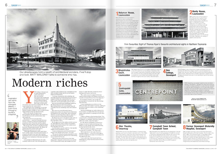 The Examiner Sunday Magazine, feature story and interview about my love for Tasmanian Modernism in Northern Tasmania