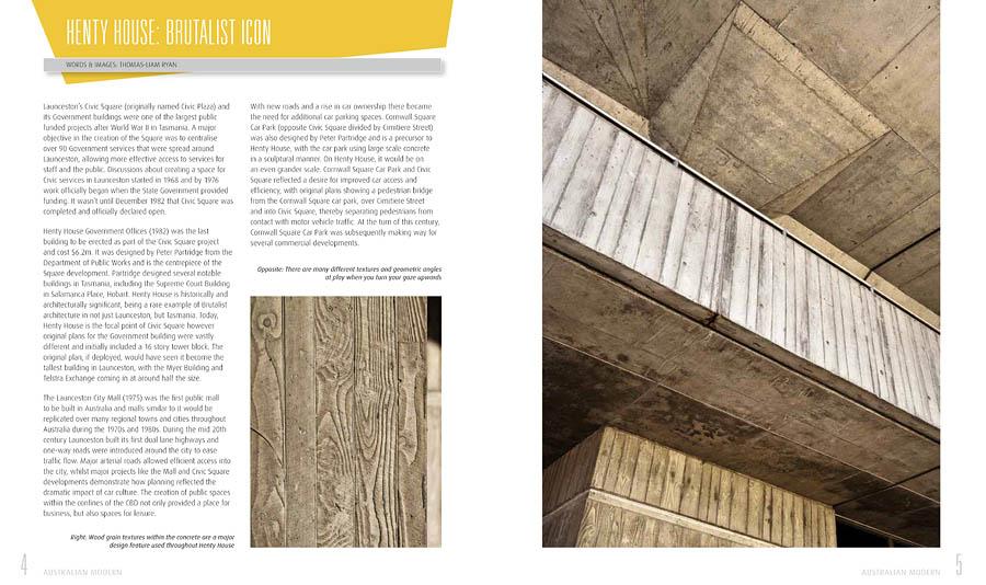 "Australian Modern, Henty House, Launceston. Written words and photographs on the Brutalist style ""Henty House"" for the national publication 'Australian Modern'"